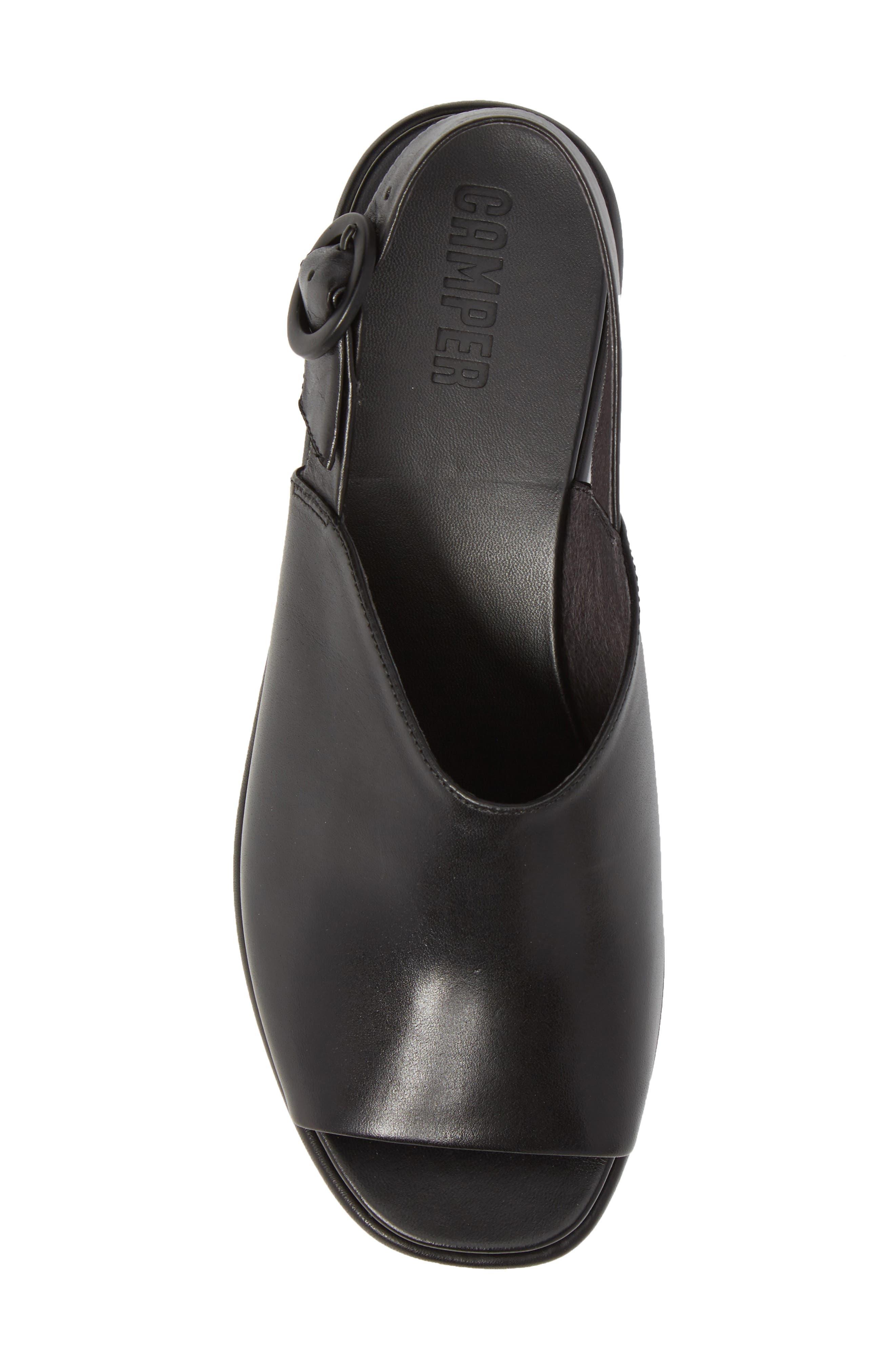 Misia Slingback Platform Wedge Sandal,                             Alternate thumbnail 5, color,                             Black Leather