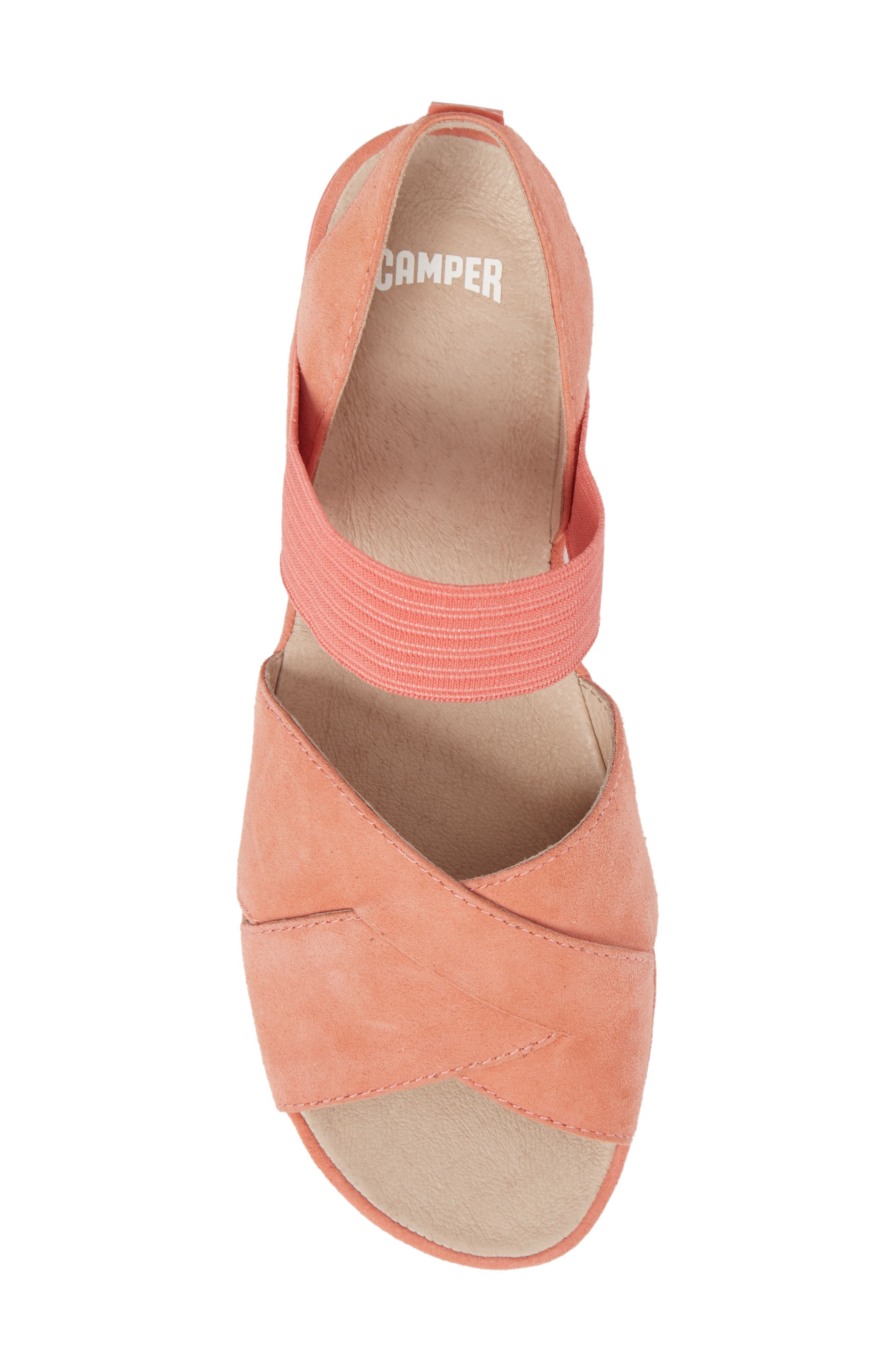 Right Nina Flat Cross Strap Sandal,                             Alternate thumbnail 5, color,                             Medium Pink Leather