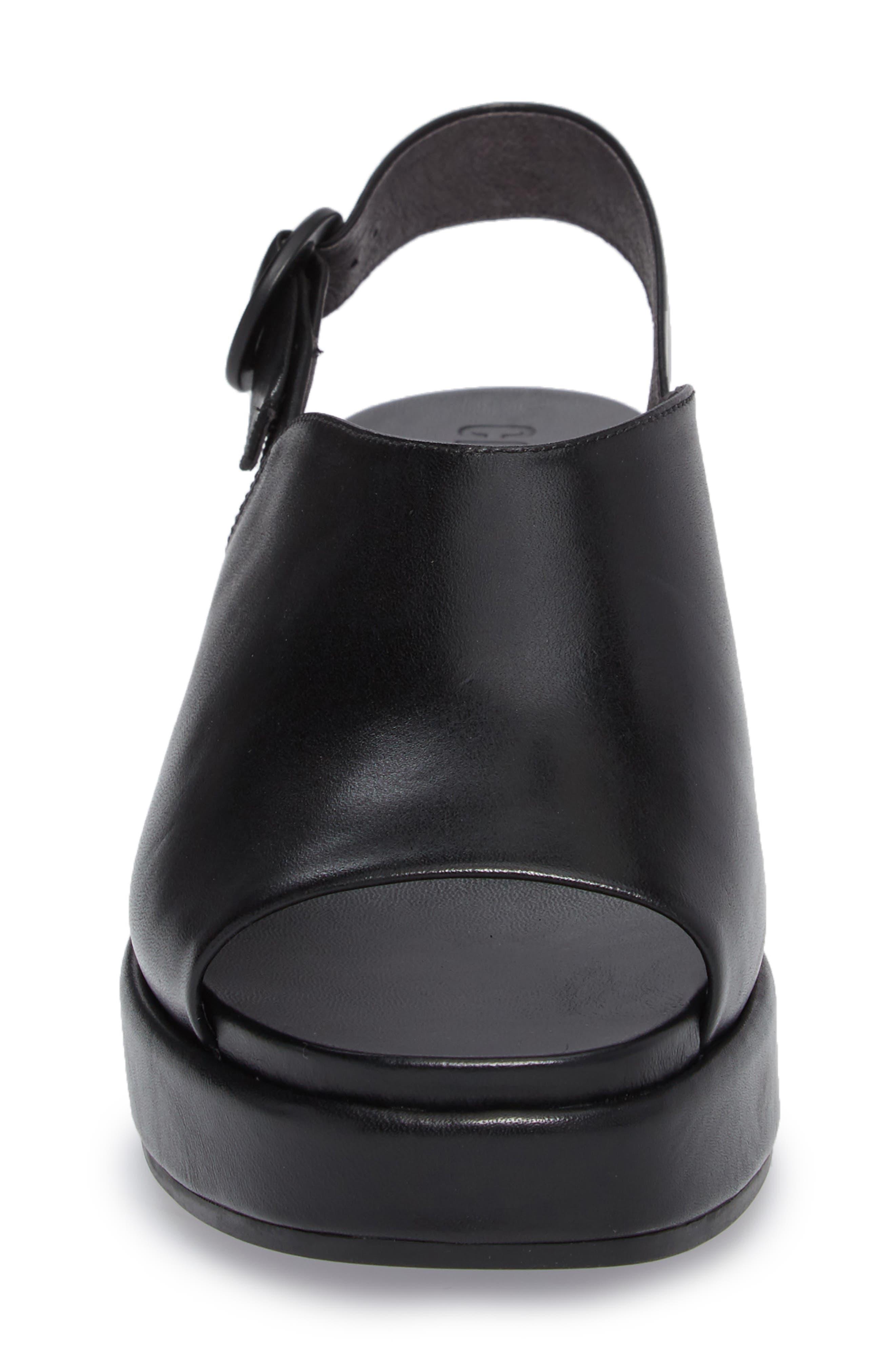 Misia Slingback Platform Wedge Sandal,                             Alternate thumbnail 4, color,                             Black Leather