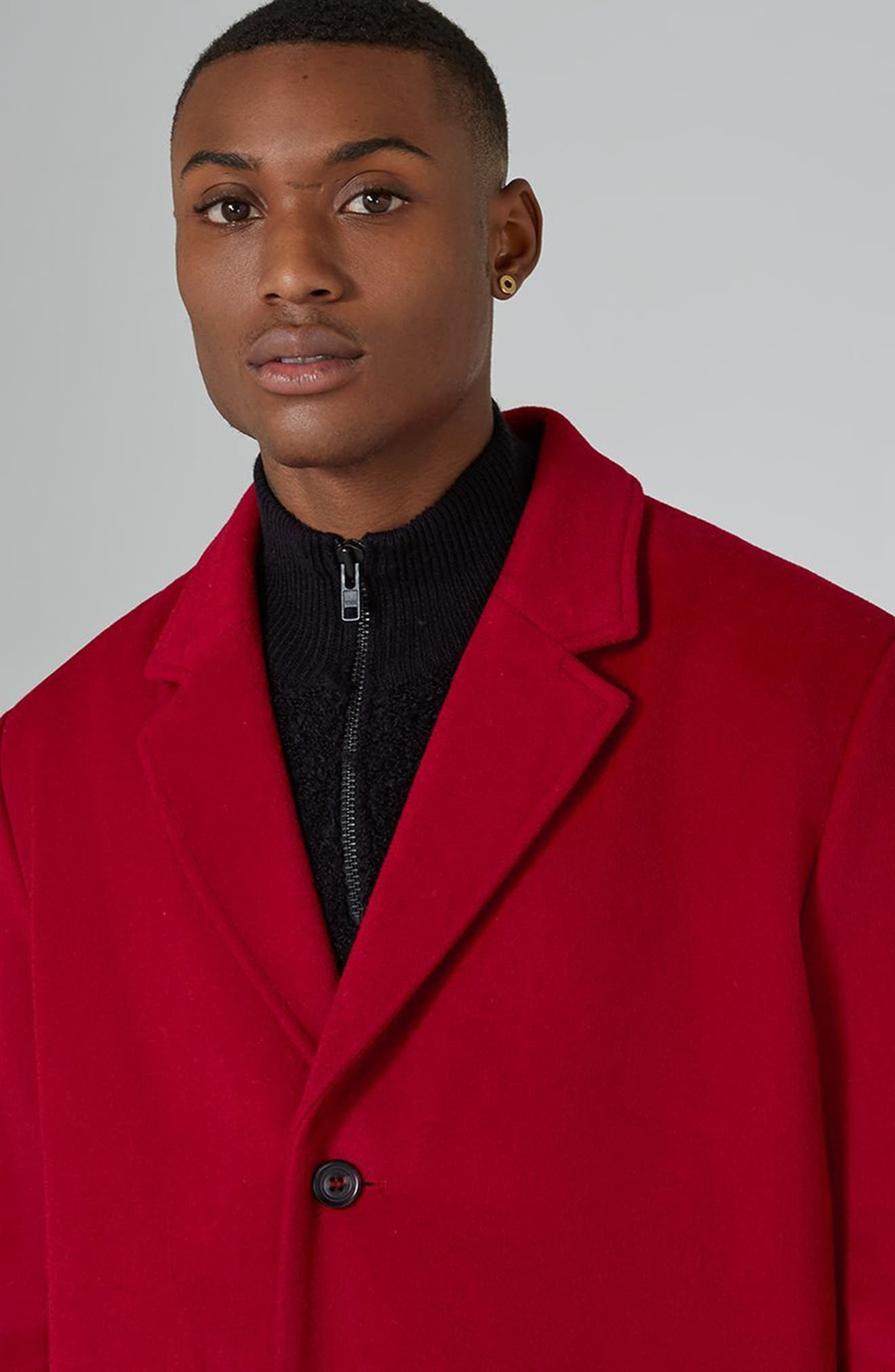 Oversized Single Breasted Coat,                             Alternate thumbnail 3, color,                             Red