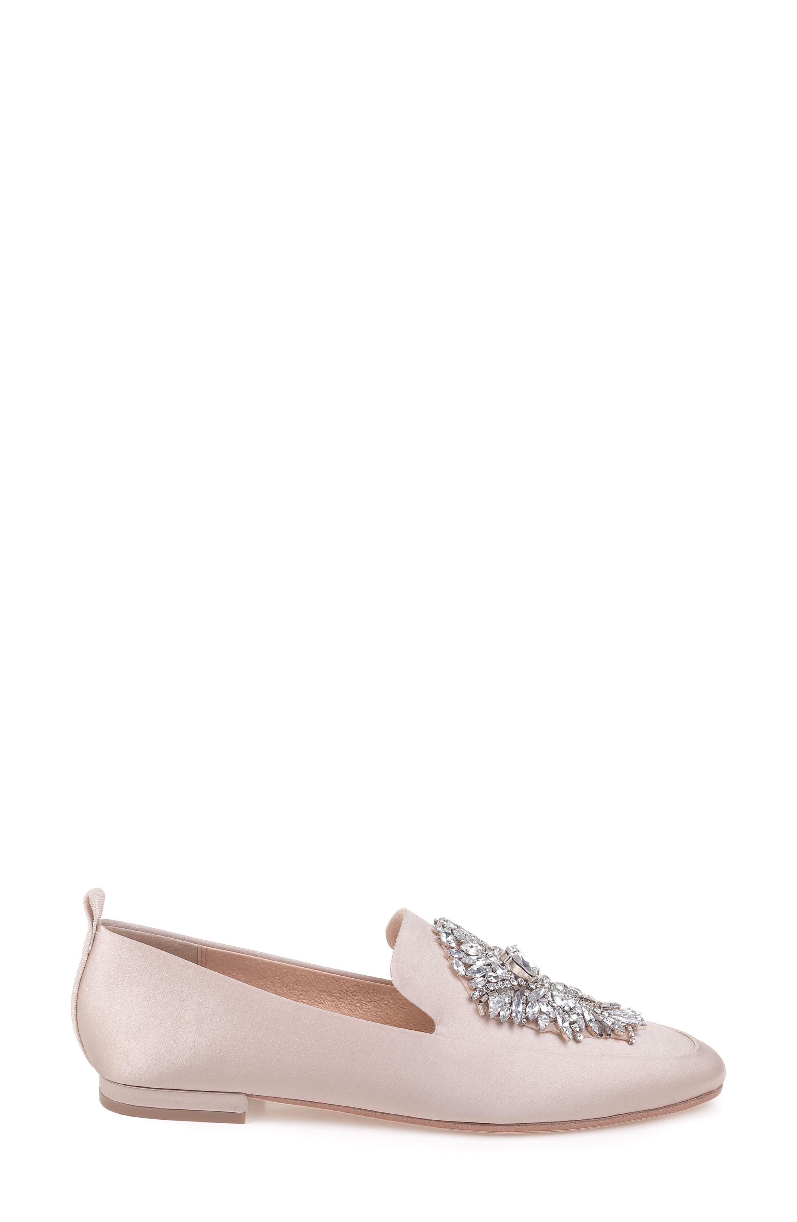 Salma Crystal Embellished Loafer,                             Alternate thumbnail 4, color,                             Nude Satin