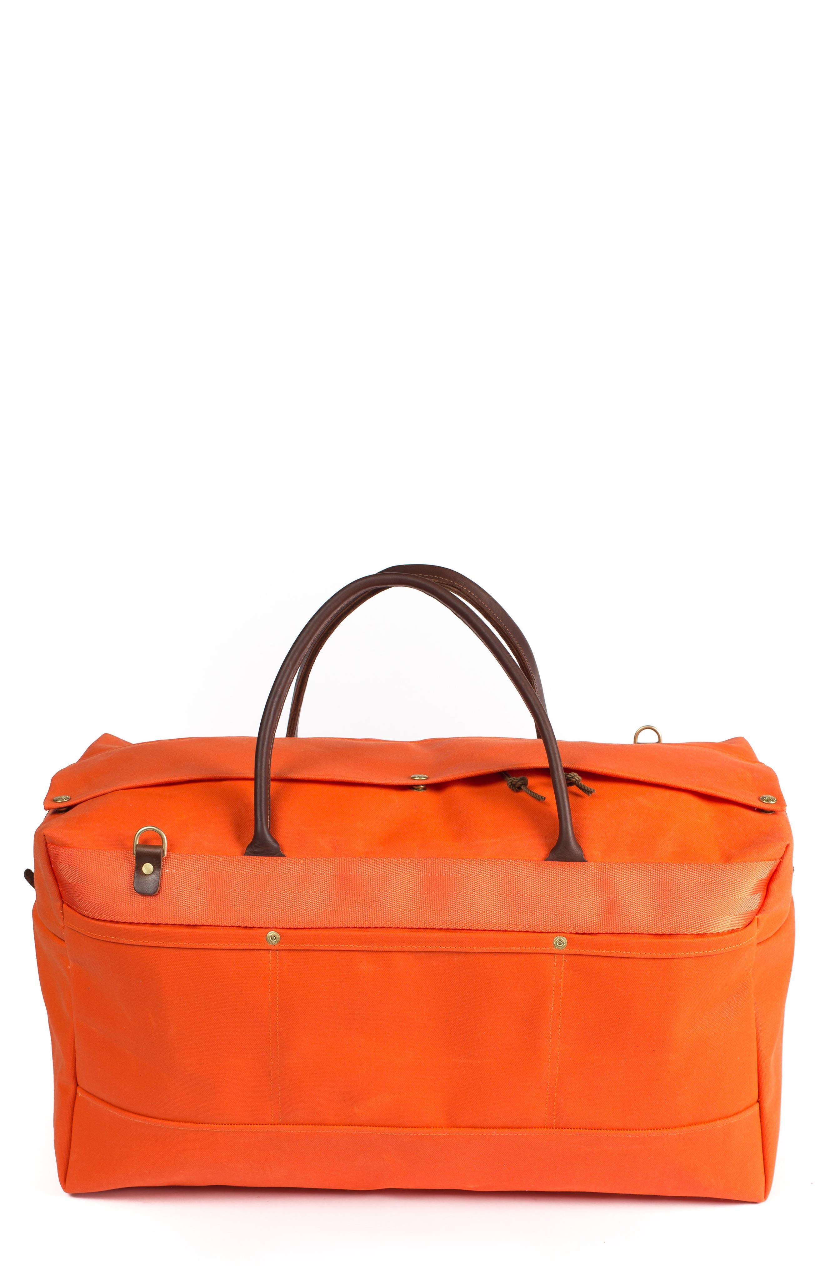 Grand Tourer Waxed Canvas Duffel Bag,                             Main thumbnail 1, color,                             Orange