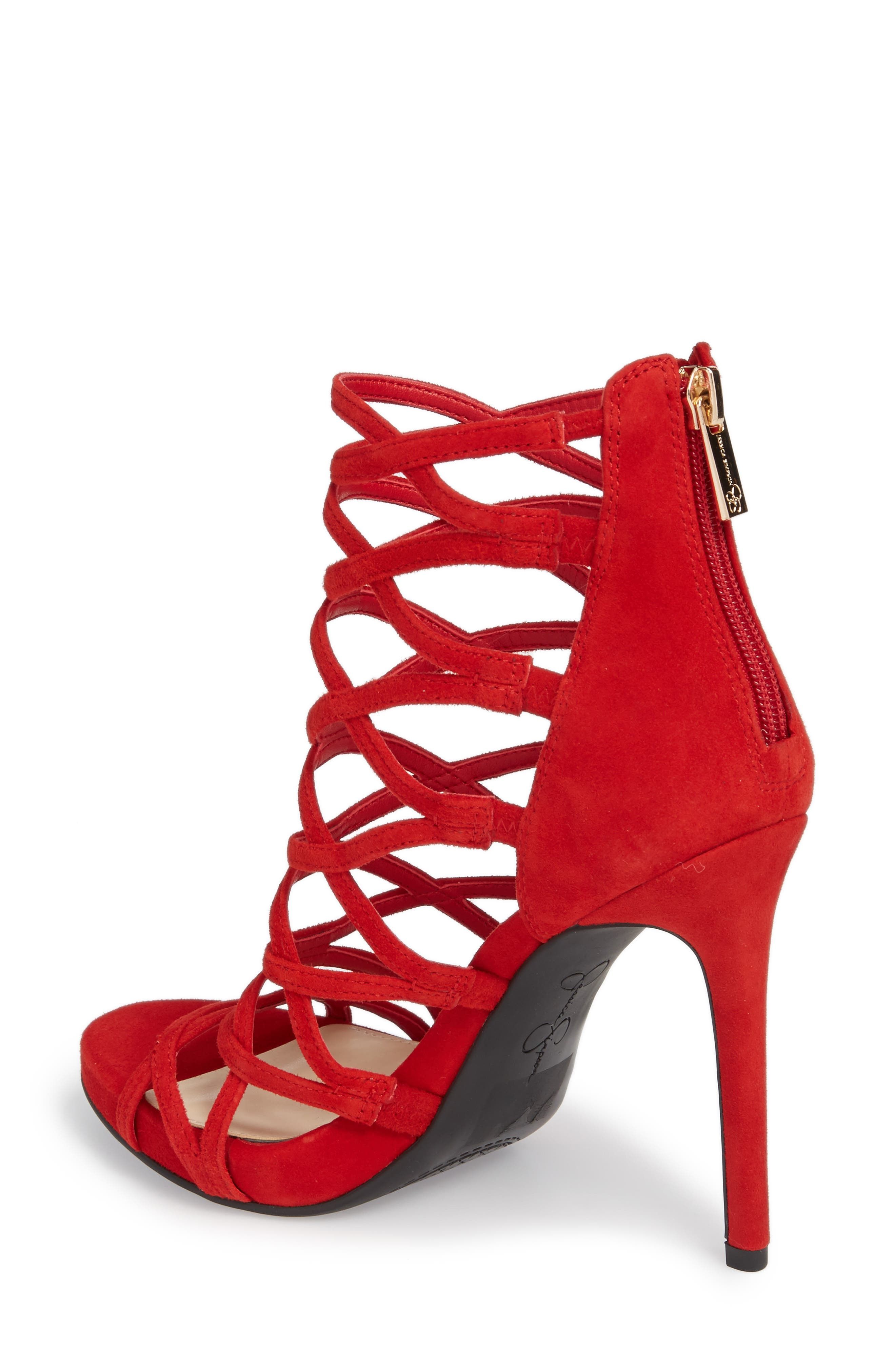 Razella Cage Sandal,                             Alternate thumbnail 2, color,                             Red Muse Suede