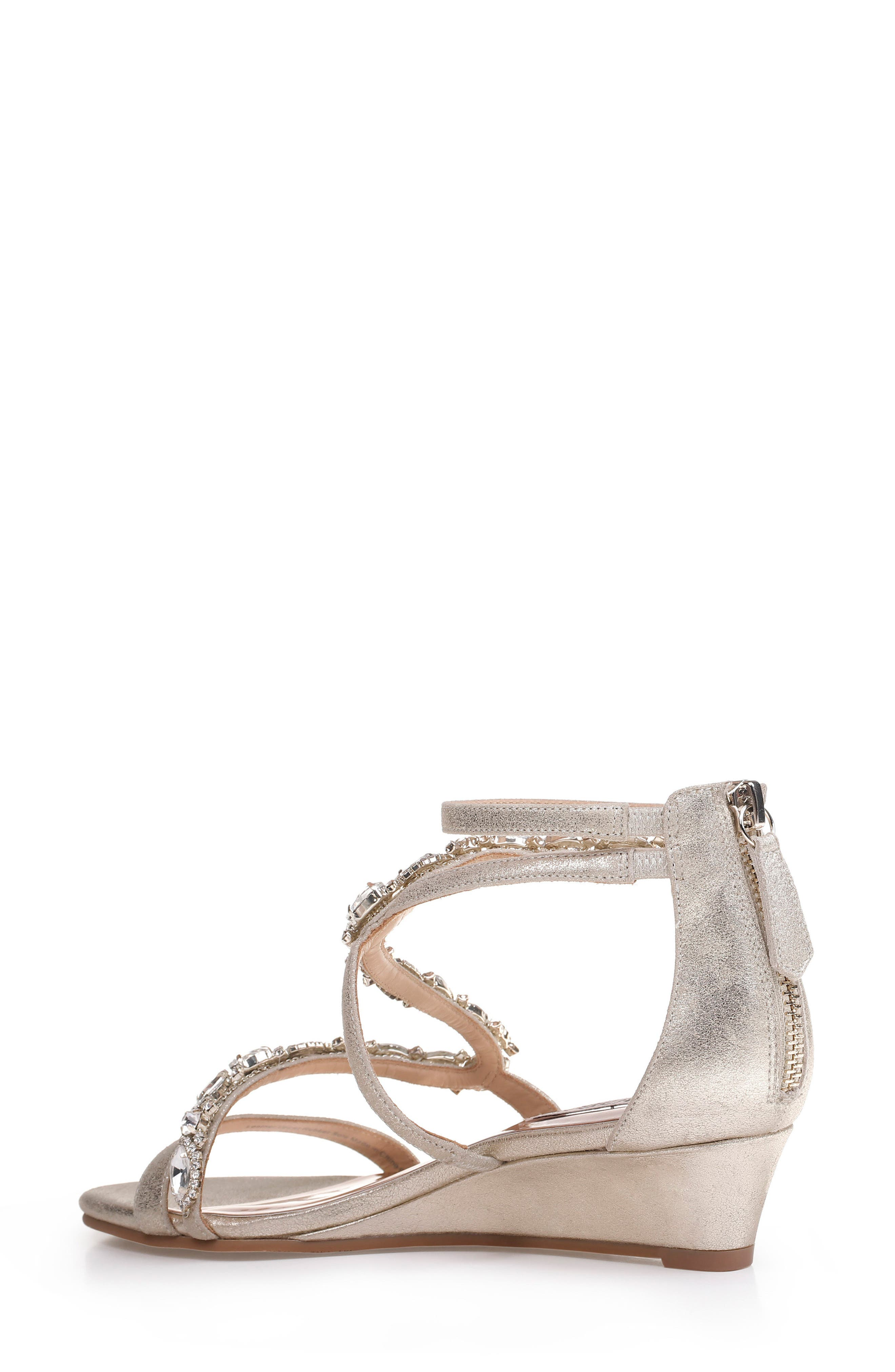 Sierra Strappy Wedge Sandal,                             Alternate thumbnail 2, color,                             Platino Suede