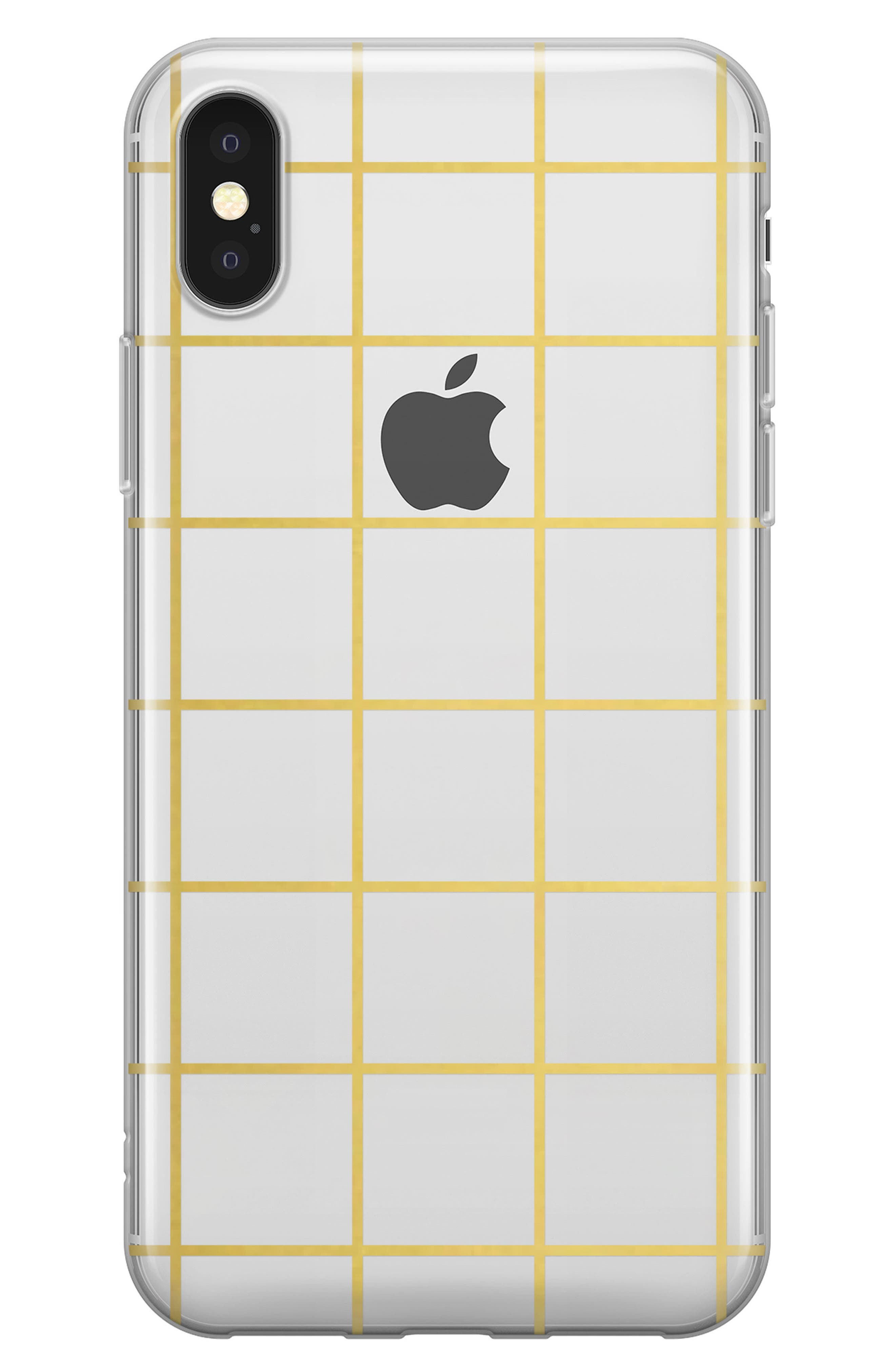 Gold Grid iPhone X Case,                         Main,                         color, Gold Grid