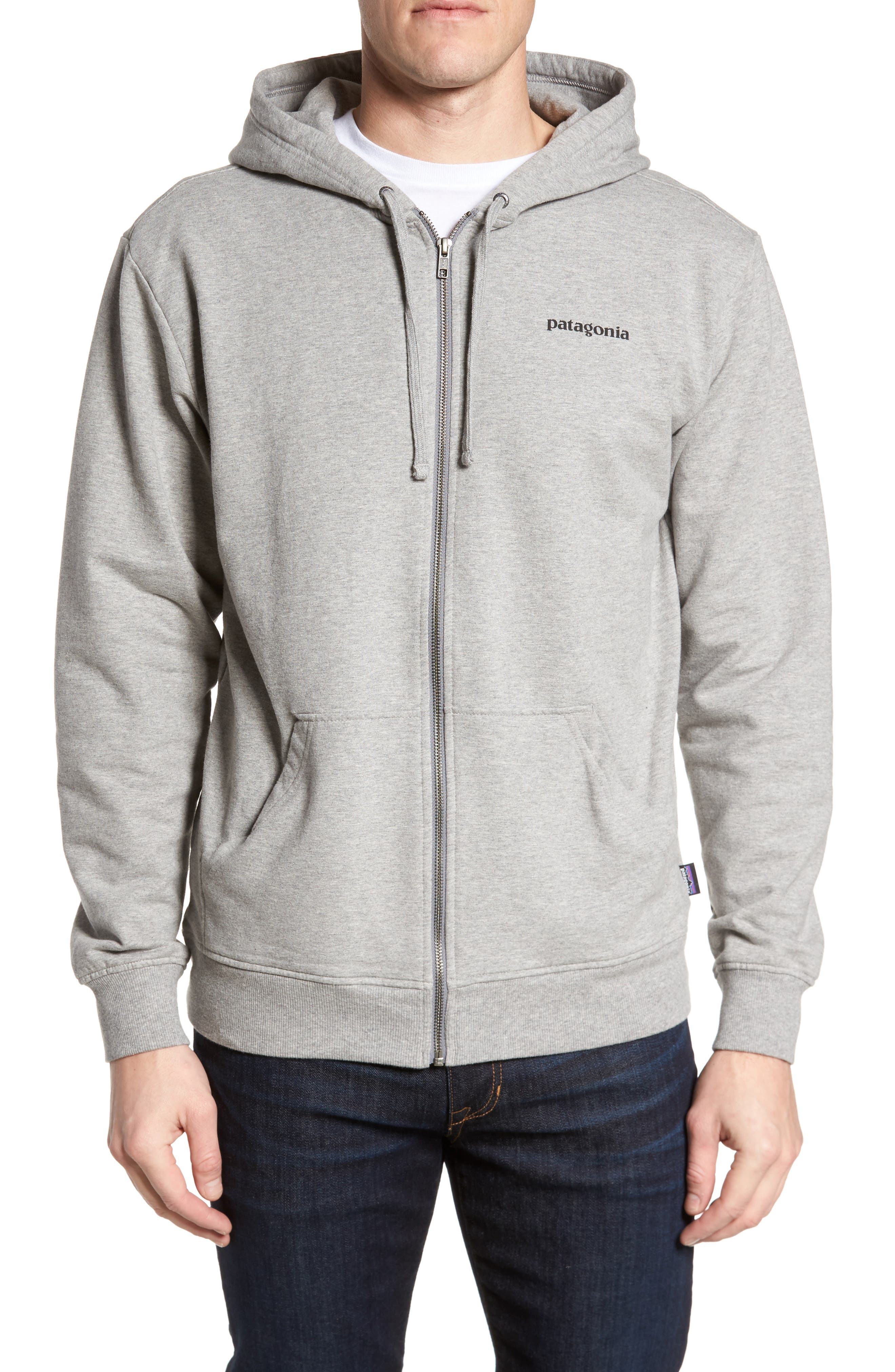 P-6 Logo Modern Fit Zip Hoodie,                             Main thumbnail 1, color,                             Feather Grey