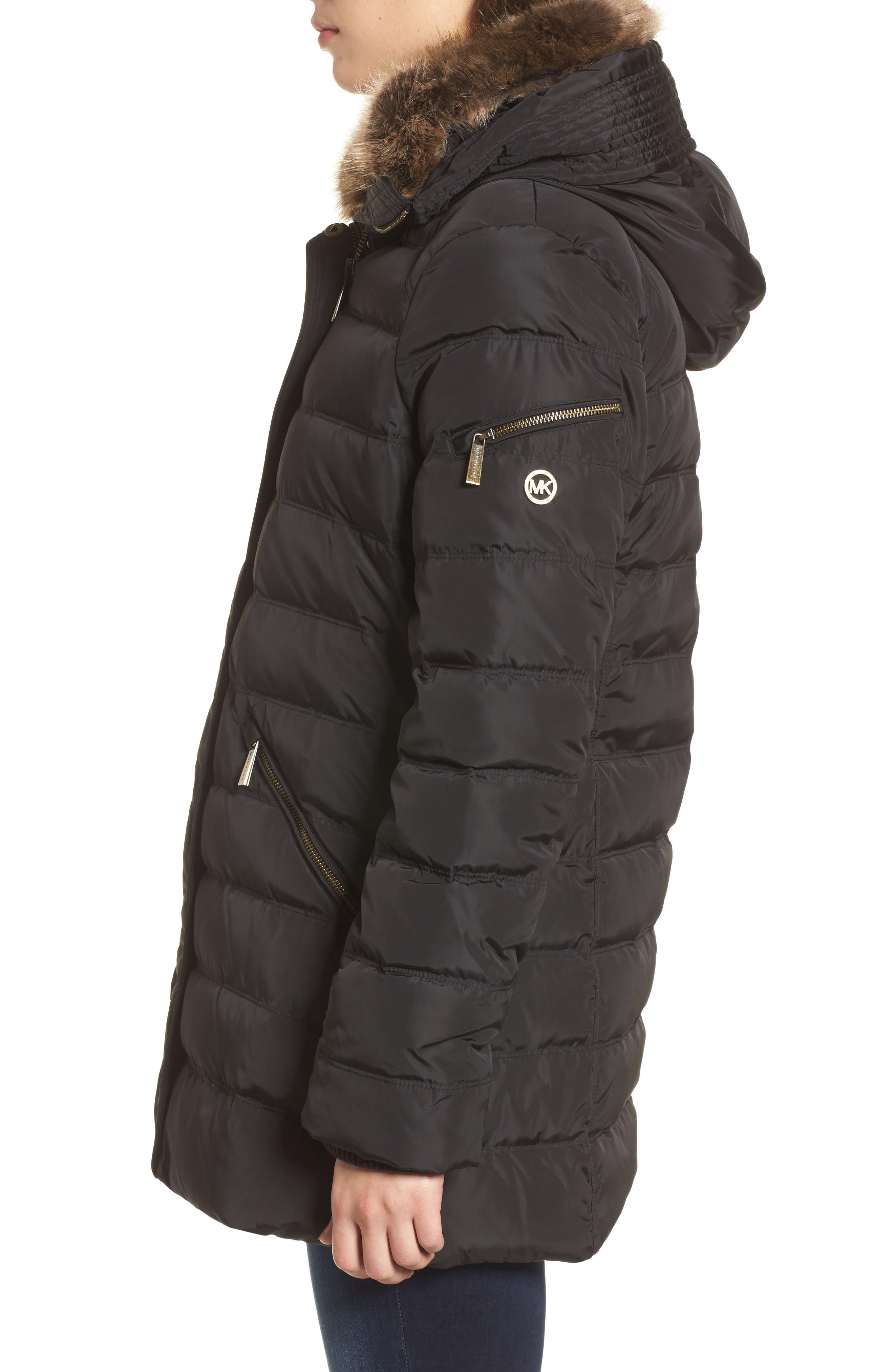 Hooded Coat with Faux Fur Trim,                             Alternate thumbnail 3, color,                             Black