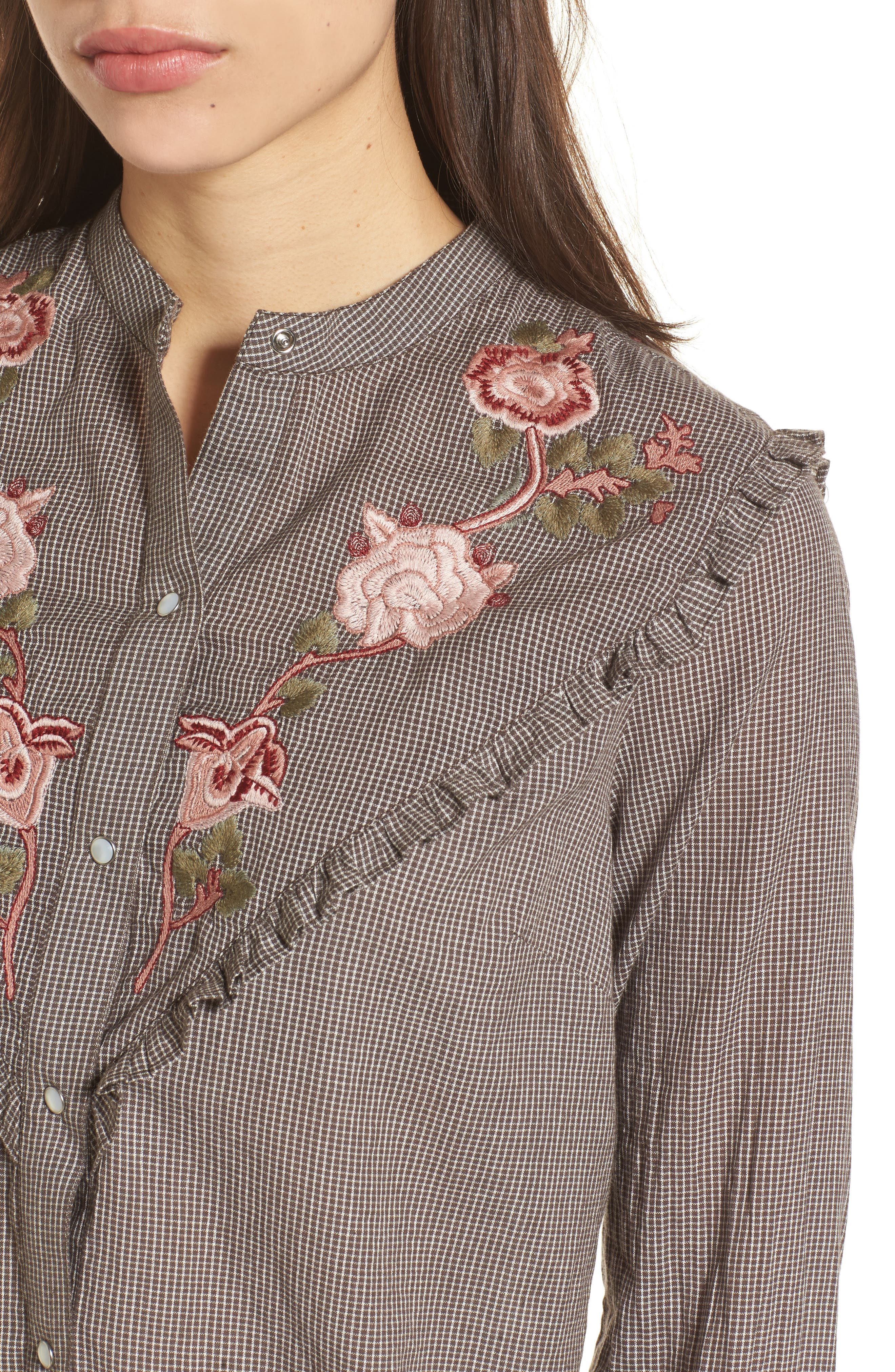 Embroidered Western Shirt,                             Alternate thumbnail 4, color,                             Grey Multi