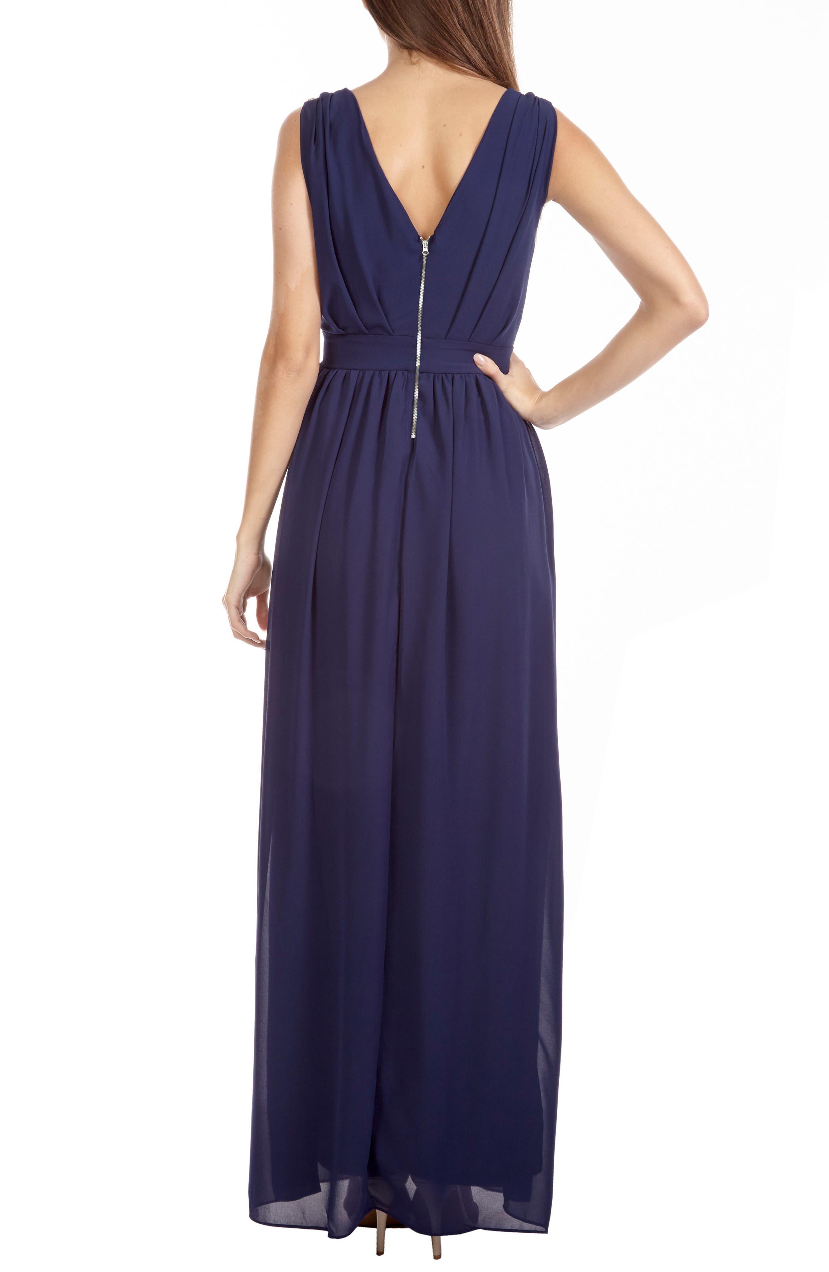 Alternate Image 2  - TFNC Debbie Embellished Pleated Chiffon Gown