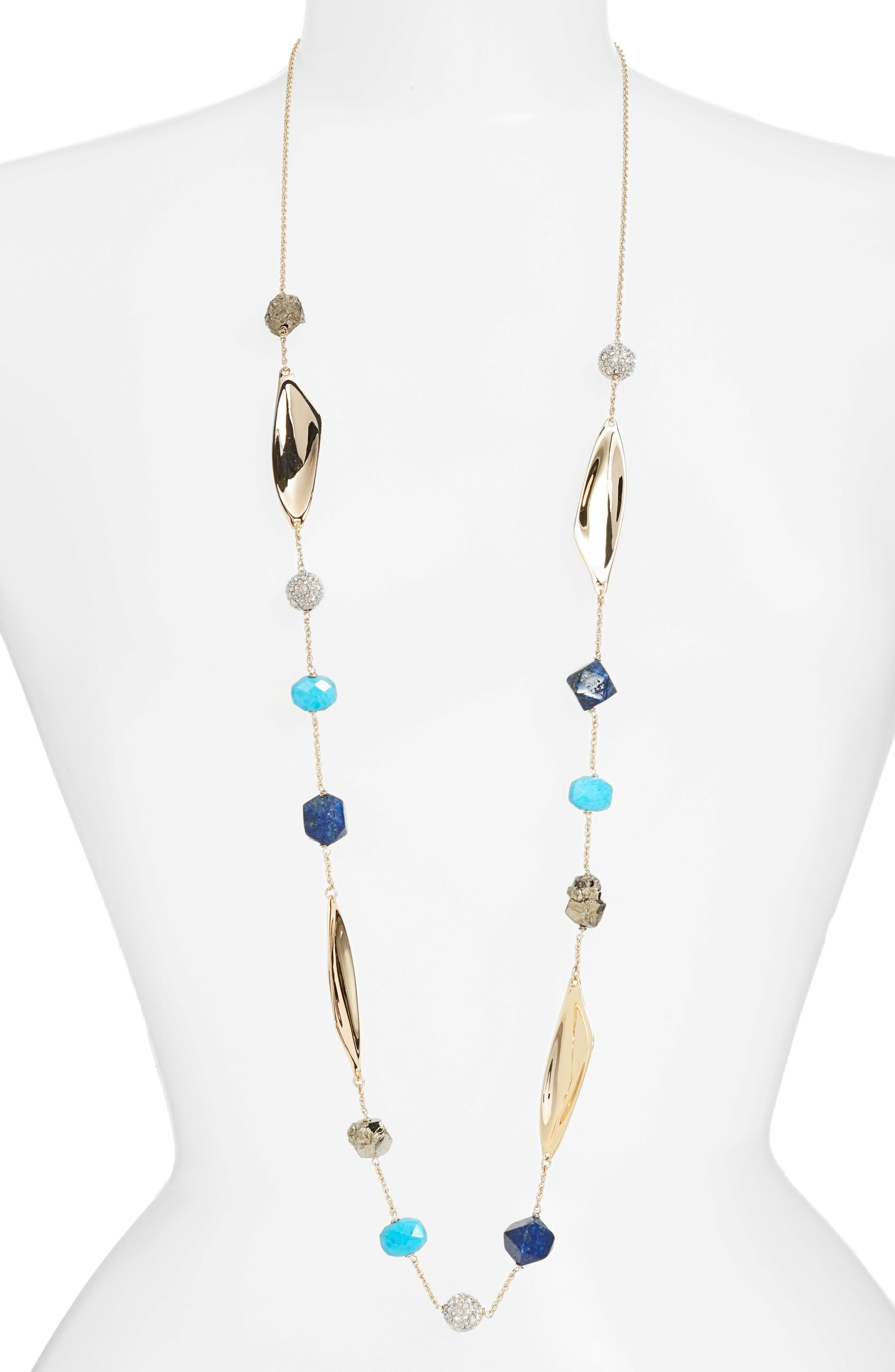 Long Beaded Necklace,                         Main,                         color, Gold