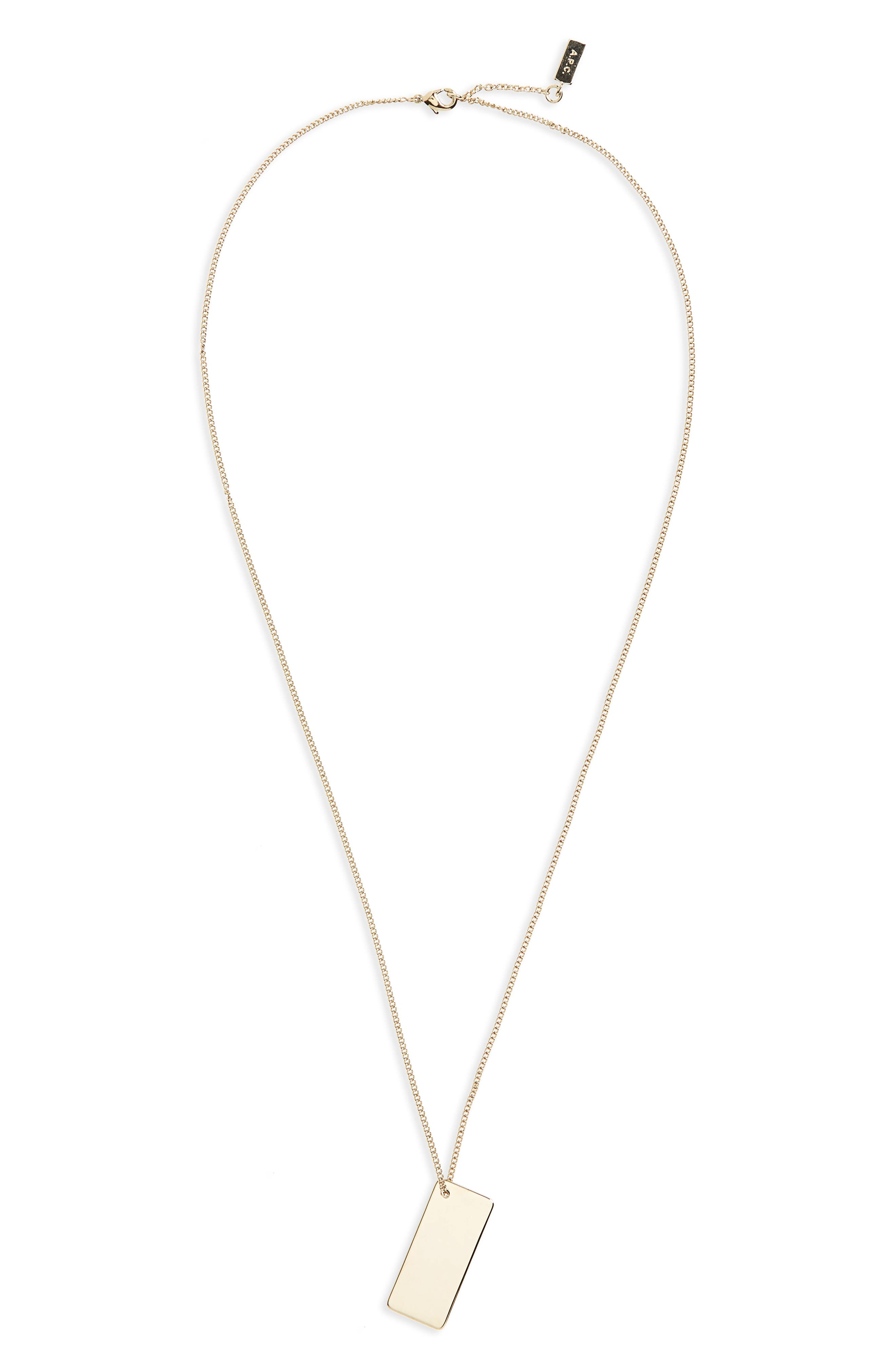 A.P.C. Pendant Brass Necklace