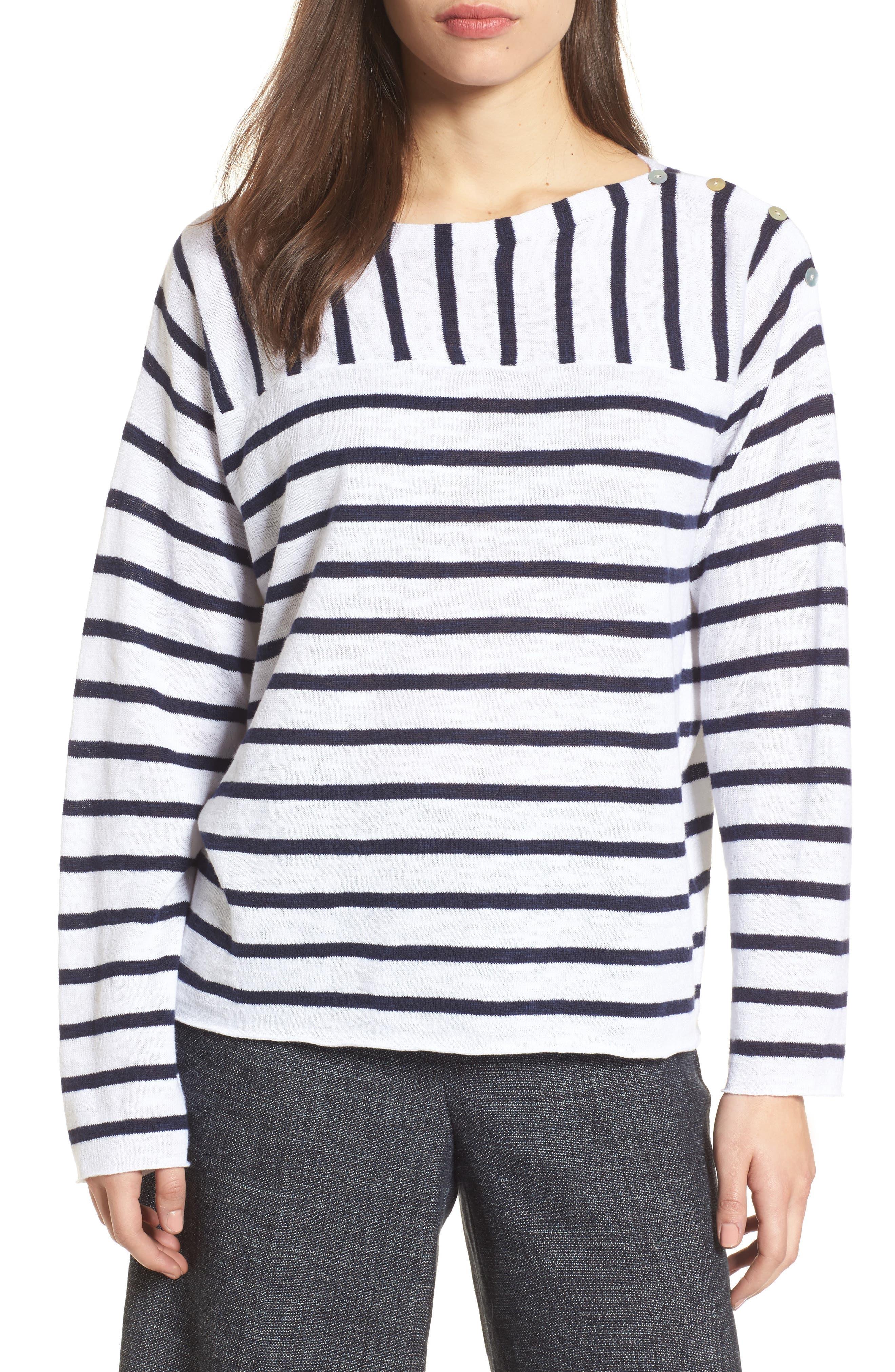 Stripe Organic Linen & Cotton Sweater,                         Main,                         color, White Midnight