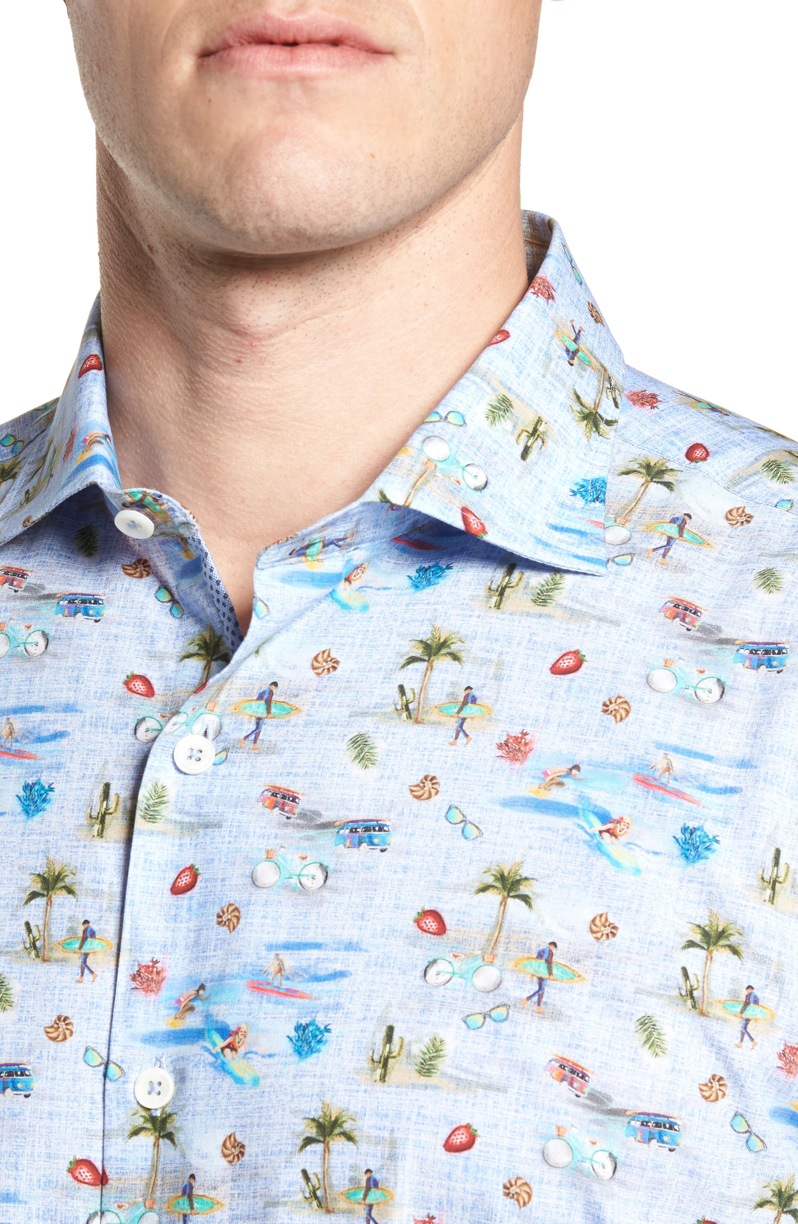 Buatchi Shaped Fit Print Sport Shirt,                             Alternate thumbnail 4, color,                             Dusty Blue
