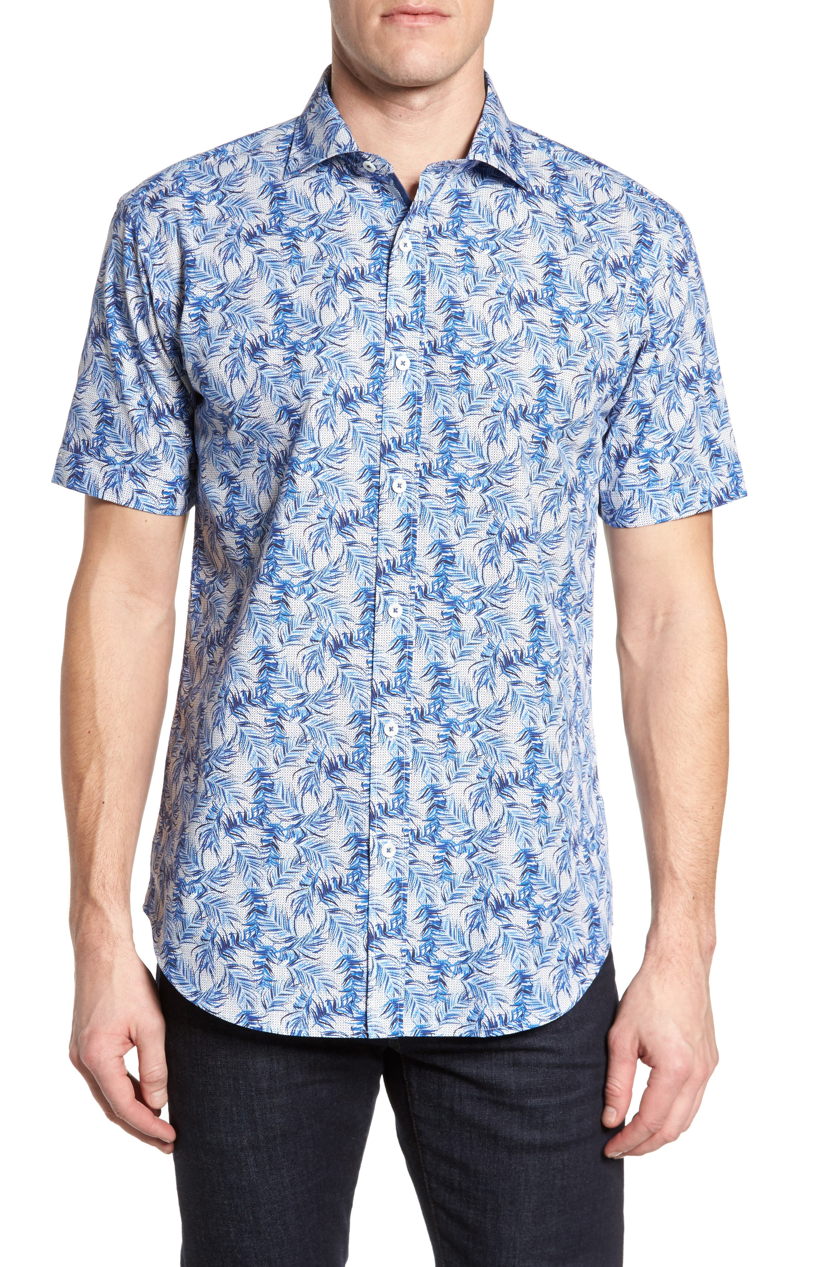 Shaped Fit Print Sport Shirt,                         Main,                         color, Navy