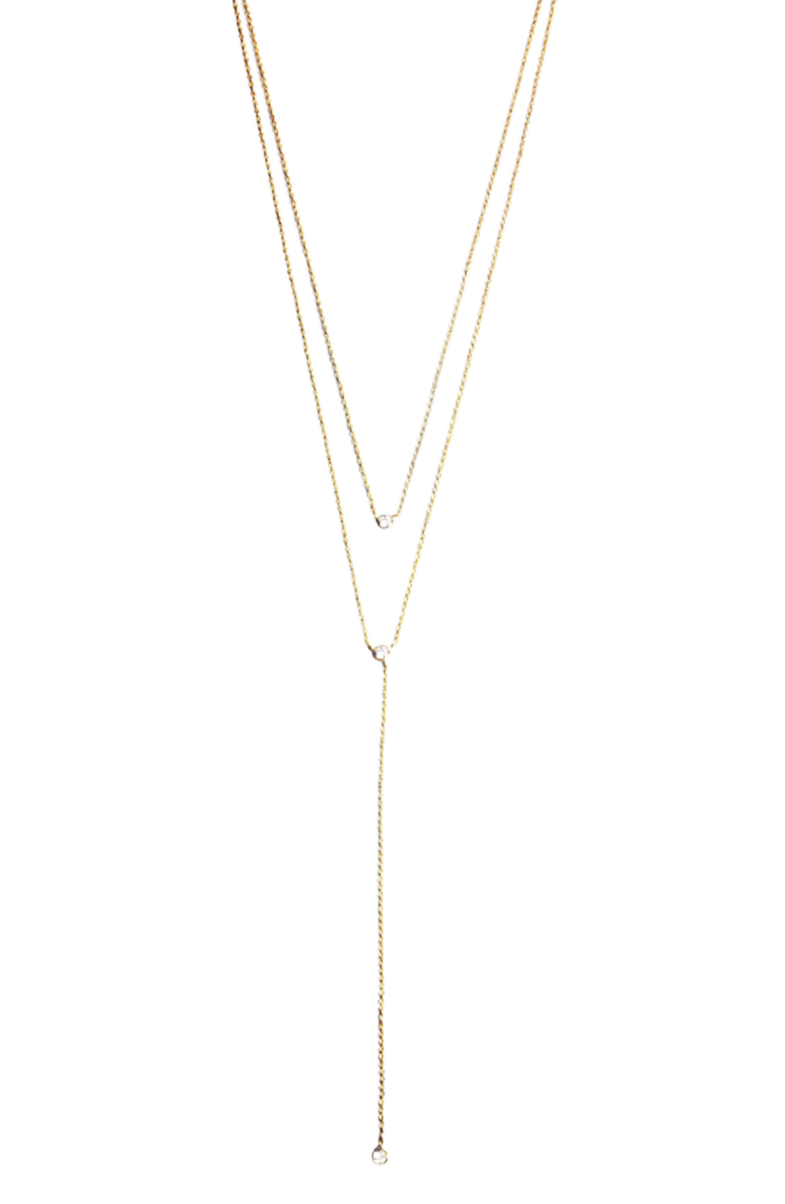 Double Layer Lariat Necklace,                         Main,                         color, Gold