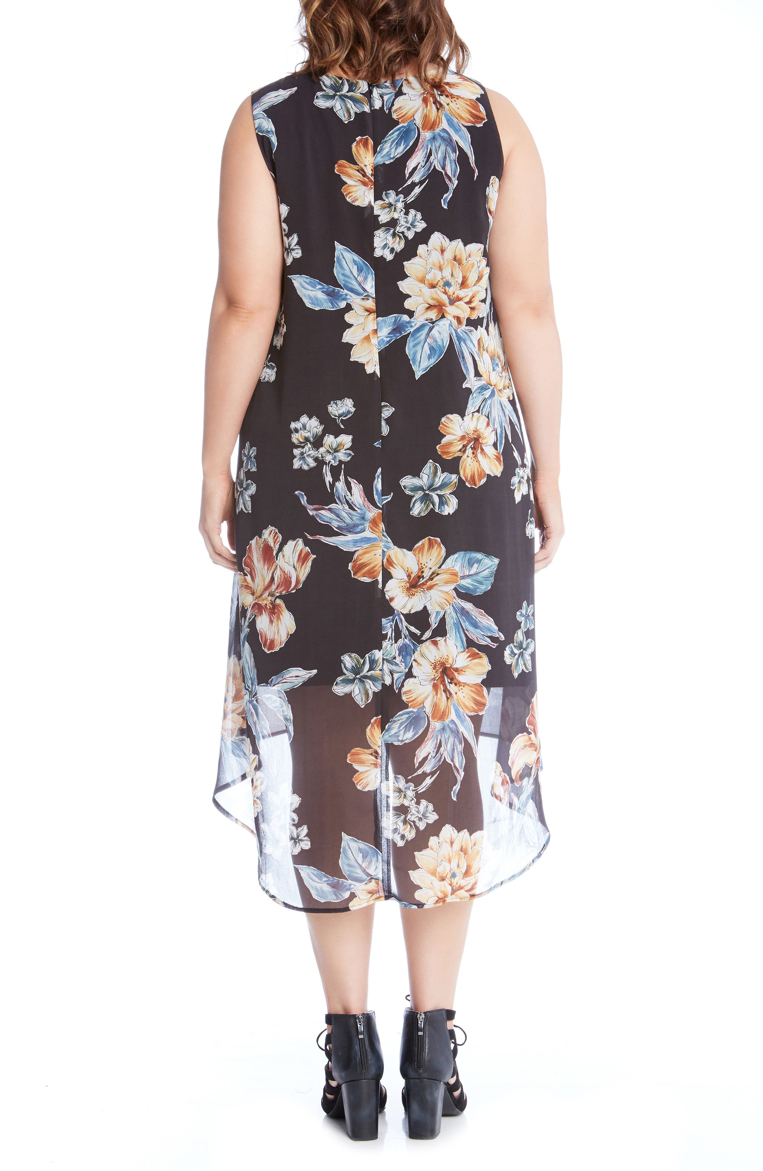 High/Low Sleeveless Dress,                             Alternate thumbnail 3, color,                             Print