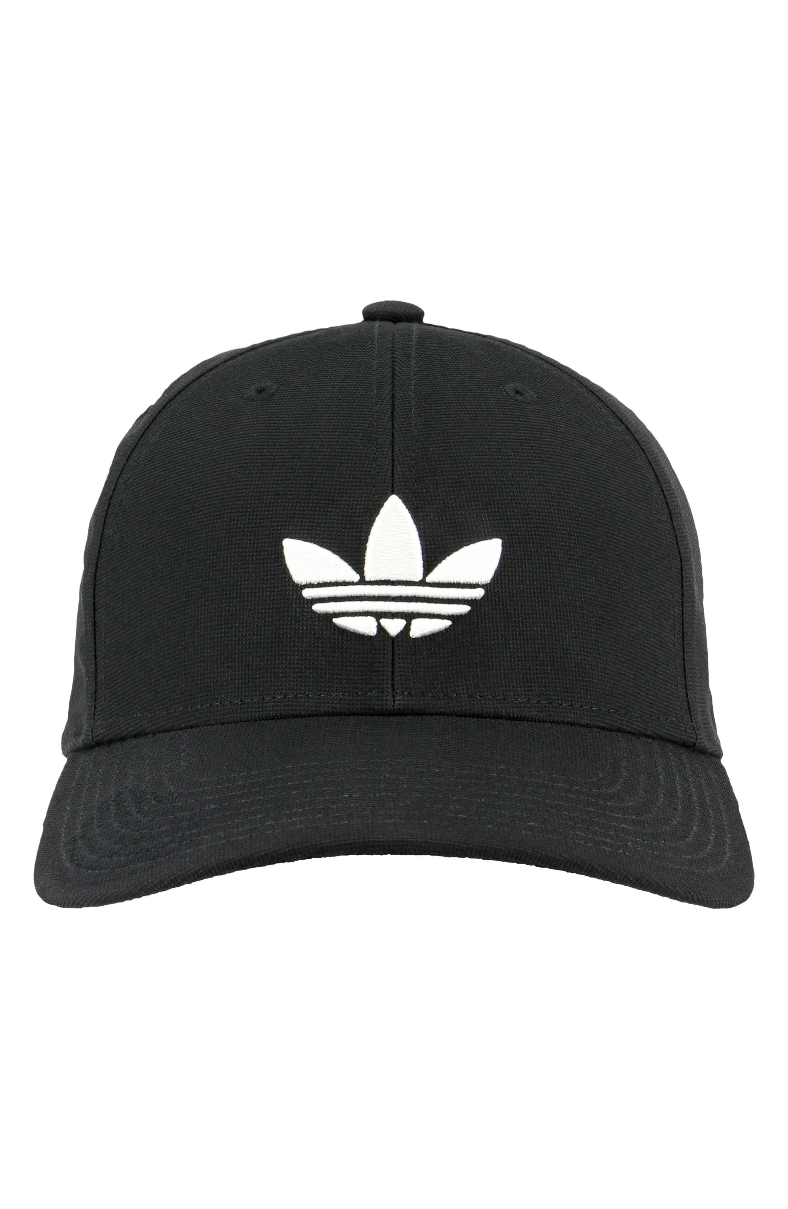 Trefoil Stretch Ball Cap,                             Alternate thumbnail 4, color,                             Black/ White
