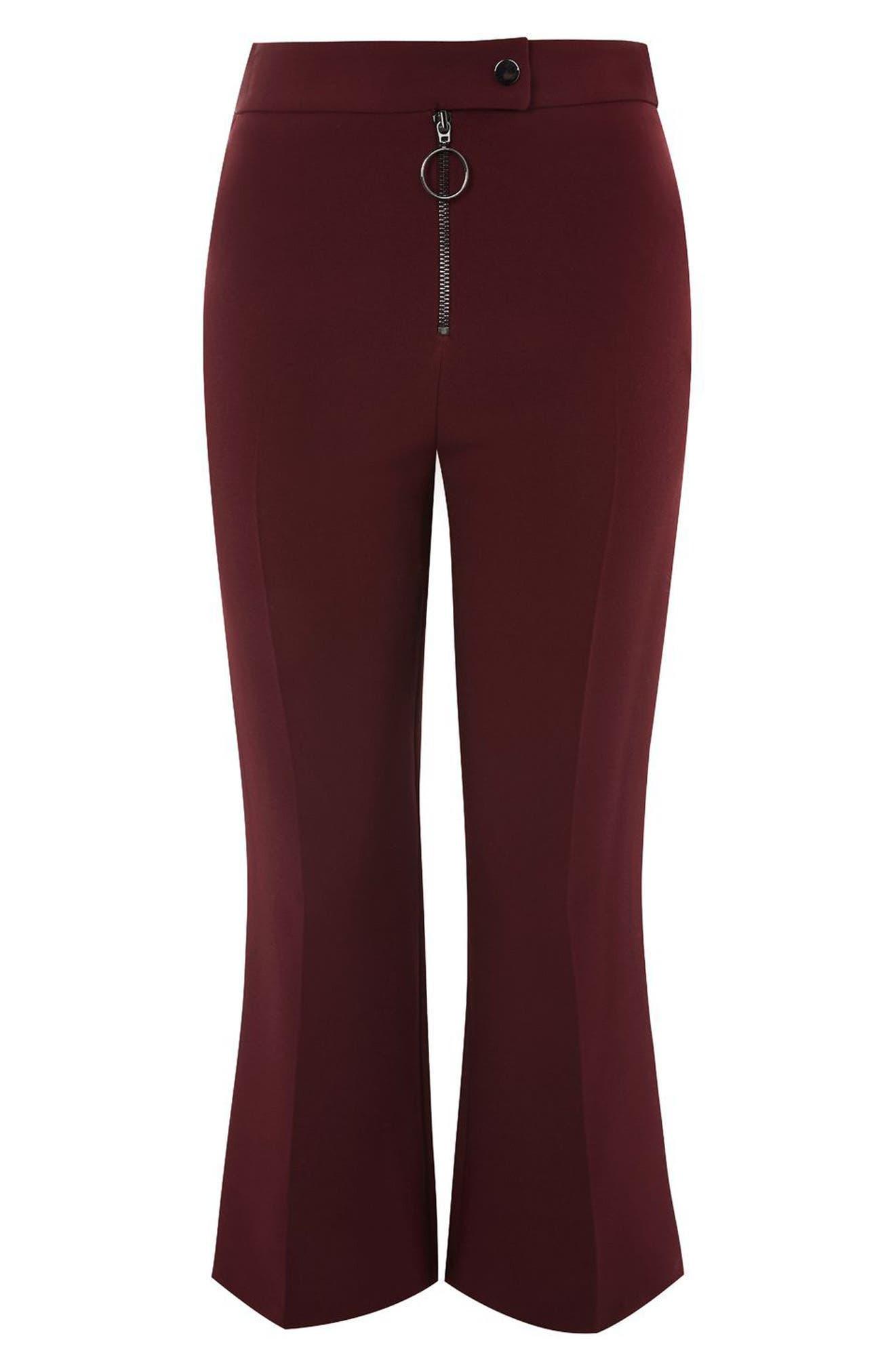 Exposed Zip Kick Flare Pants,                         Main,                         color, Oxblood