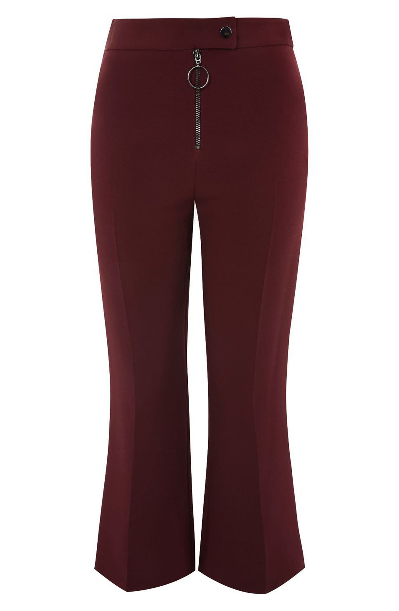 Topshop Exposed Zip Kick Flare Pants