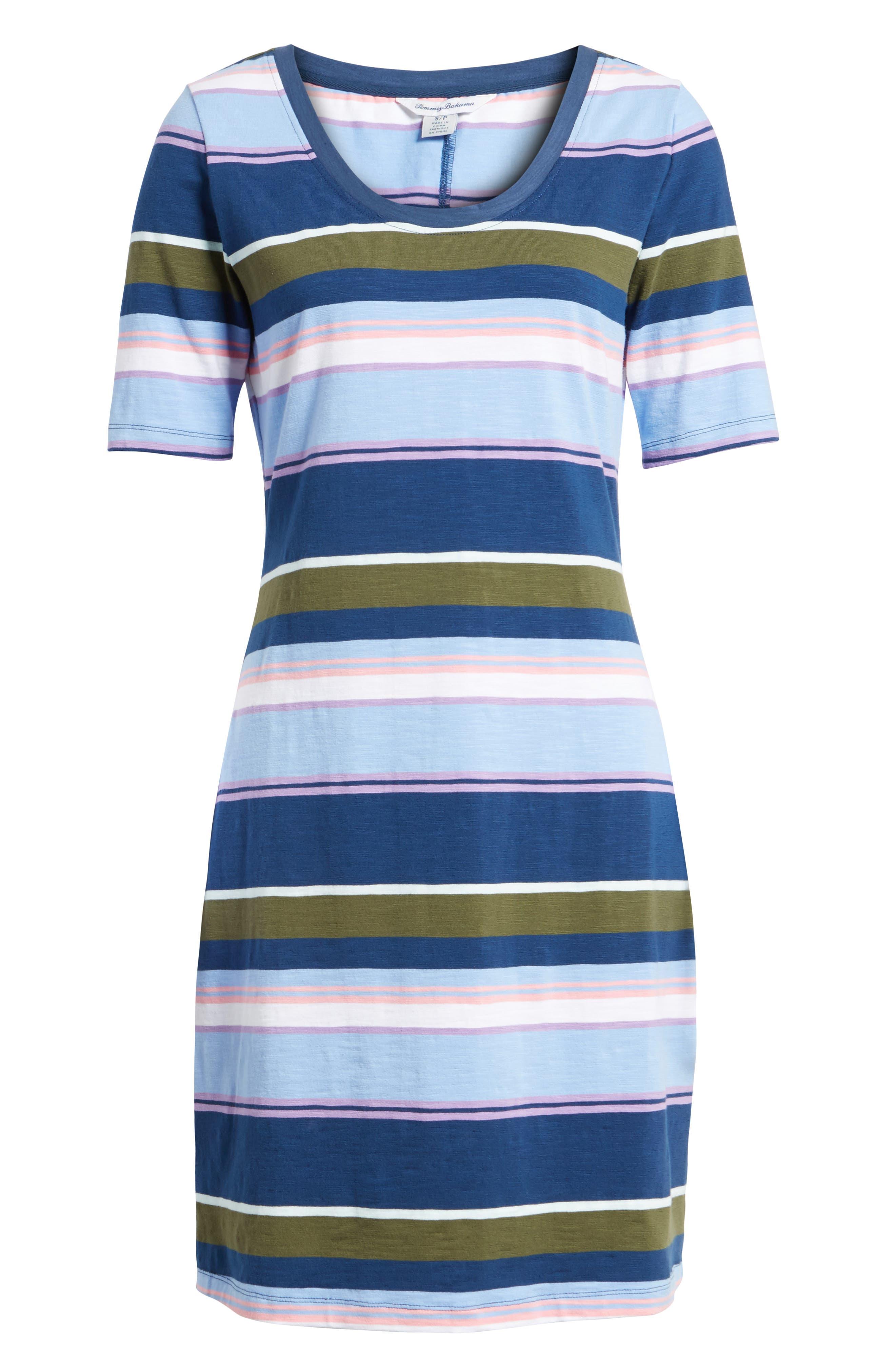 Stripe Scoop Neck Dress,                             Alternate thumbnail 6, color,                             Kingdom Blue