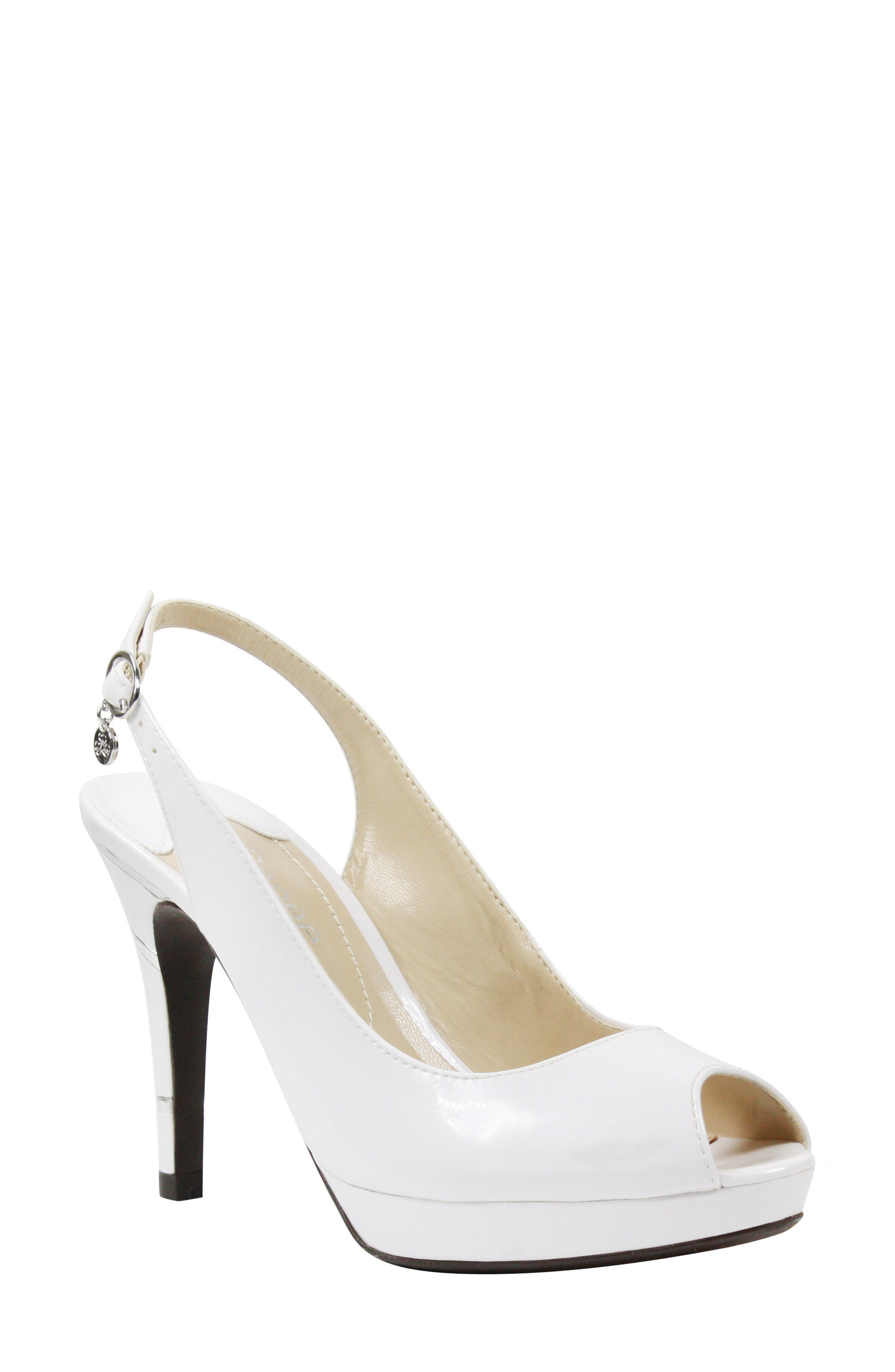 Onille Slingback Pump,                             Main thumbnail 1, color,                             Pearl White Faux Leather