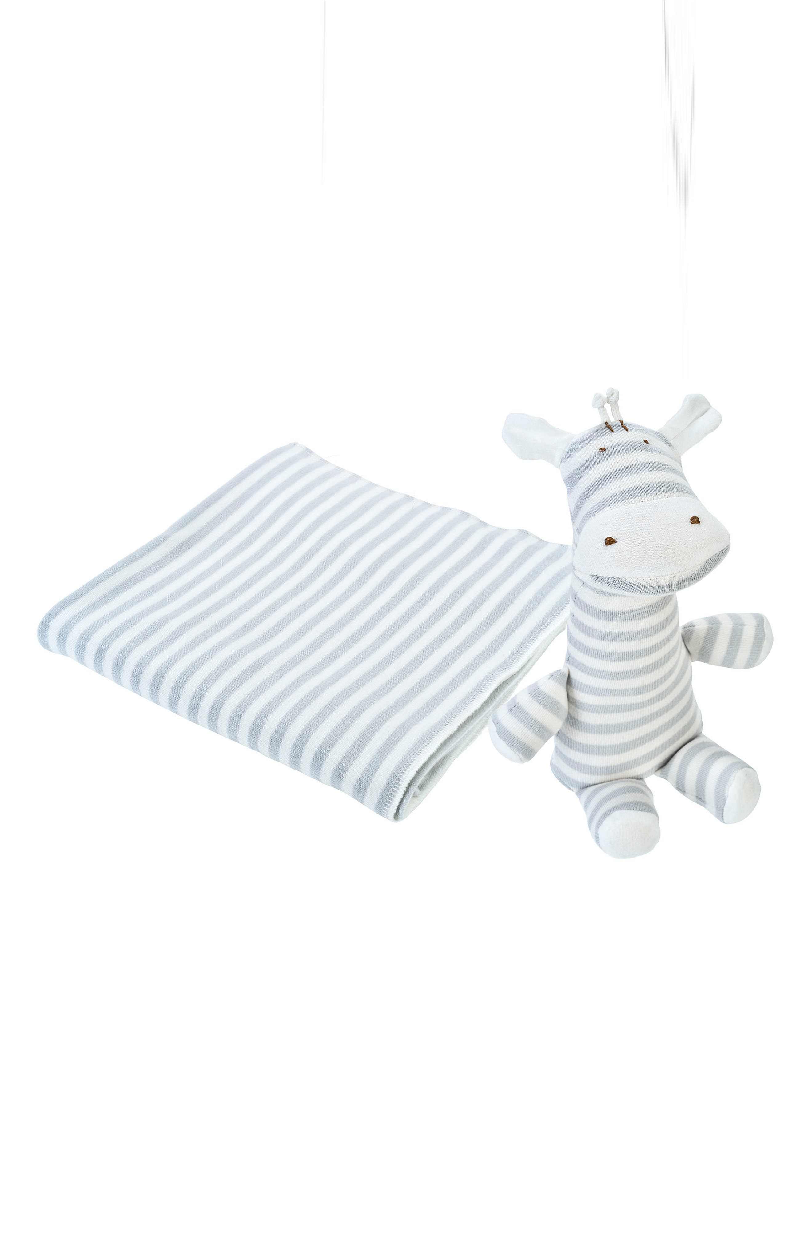 2-Piece Stripe Swaddle Blanket & Stuffed Animal Set,                             Main thumbnail 1, color,                             Grey