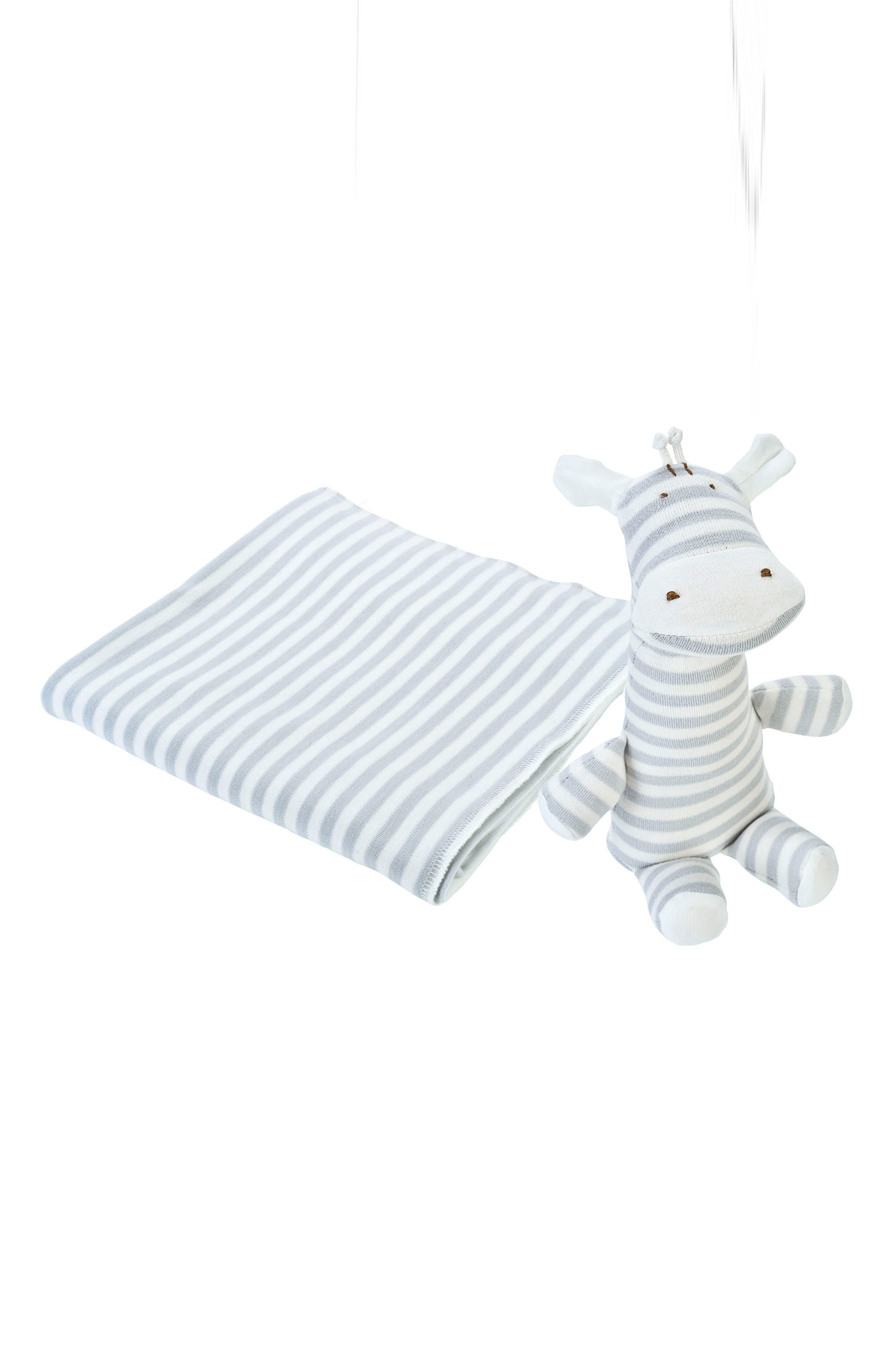 2-Piece Stripe Swaddle Blanket & Stuffed Animal Set,                         Main,                         color, Grey