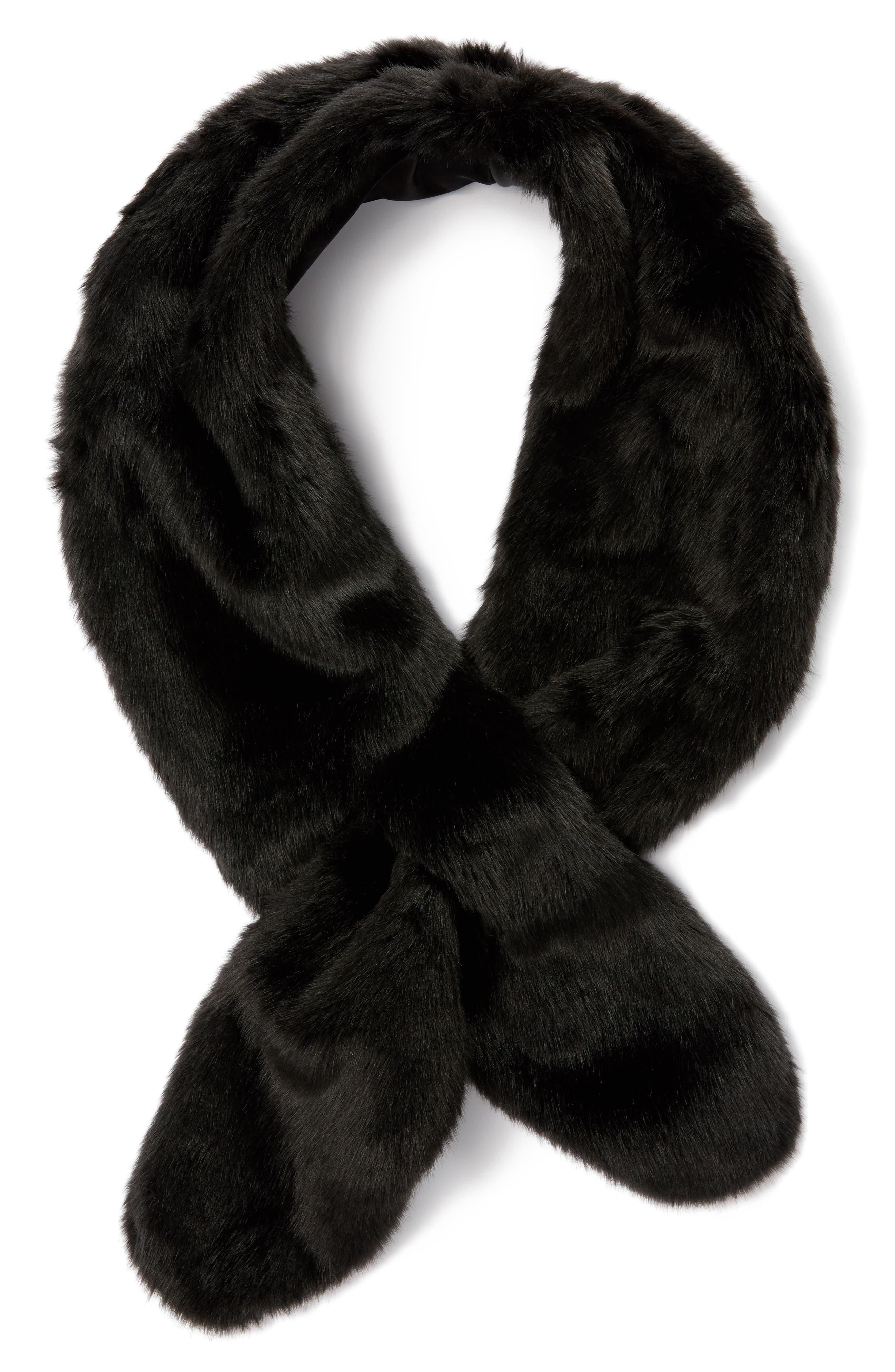 Faux Fur Pull Through Scarf,                             Main thumbnail 1, color,                             Black