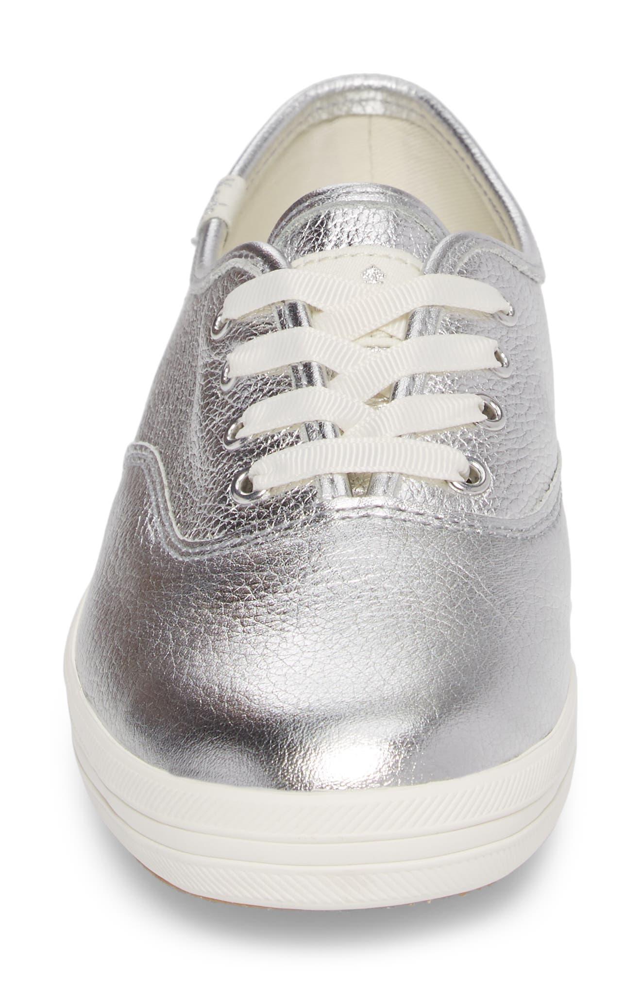 metallic sneaker,                             Alternate thumbnail 4, color,                             Silver Leather