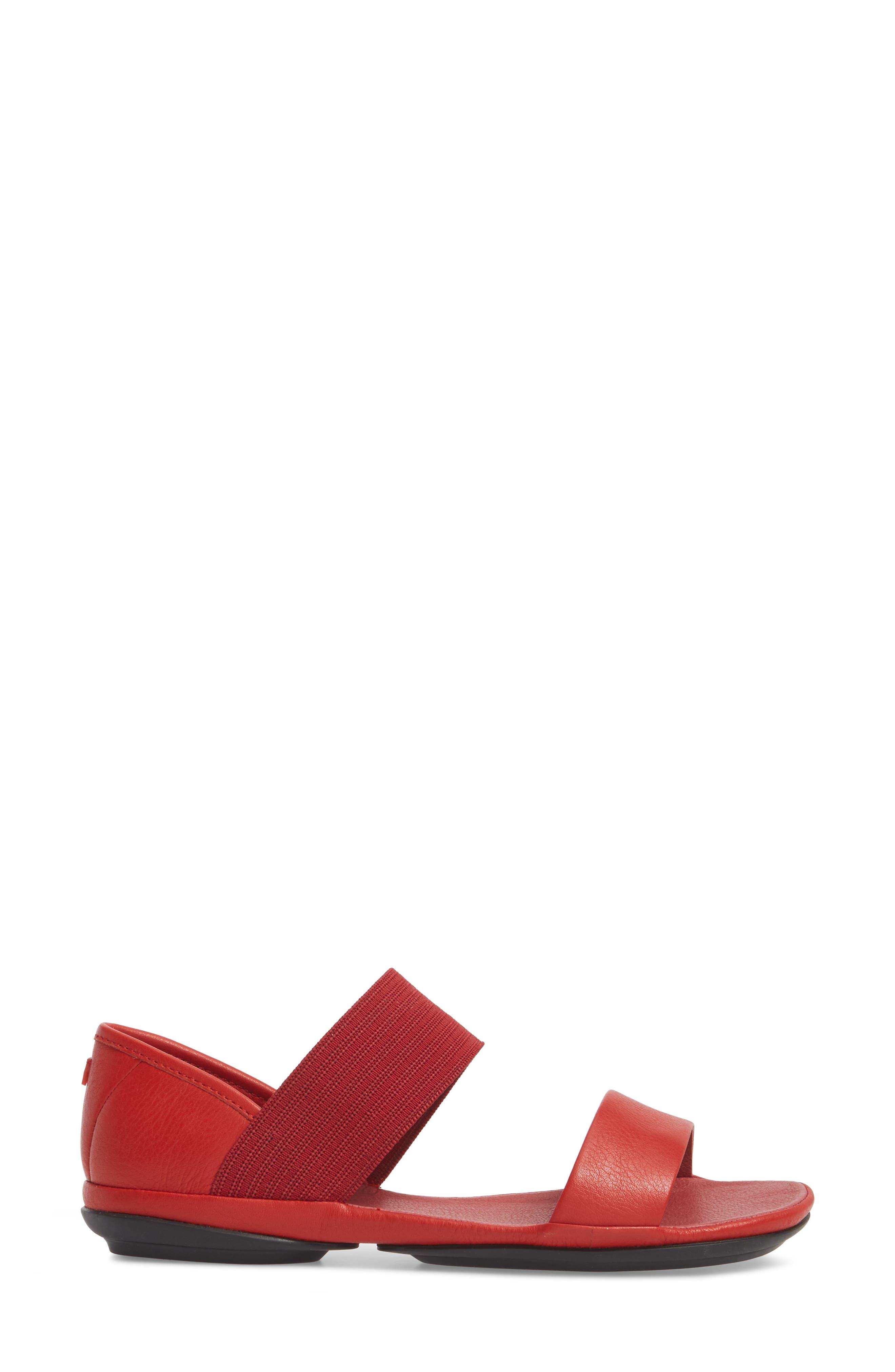Right Nina Sandal,                             Alternate thumbnail 3, color,                             Medium Red Leather