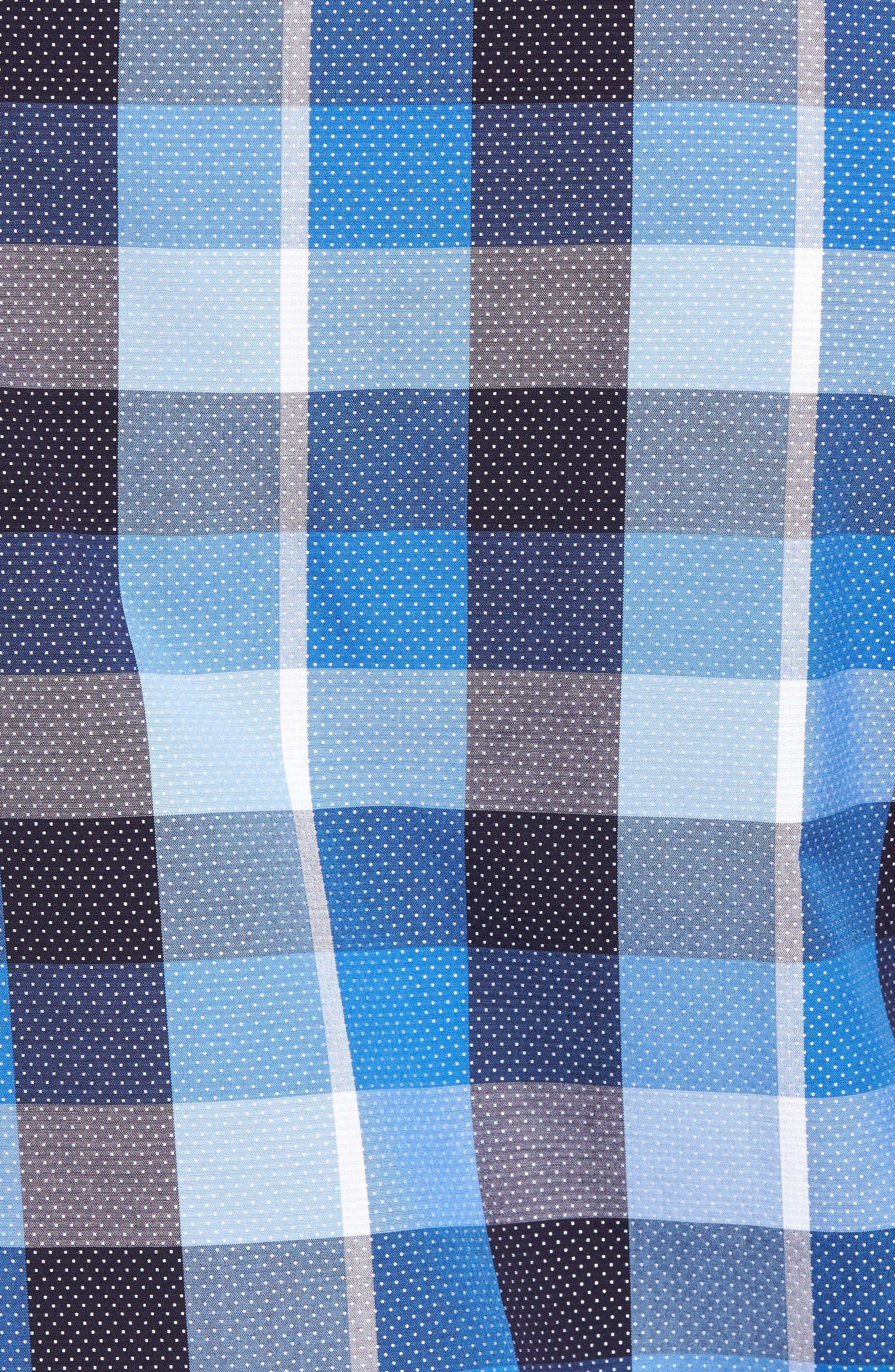 Shaped Fit Check Dot Sport Shirt,                             Alternate thumbnail 5, color,                             Classic Blue