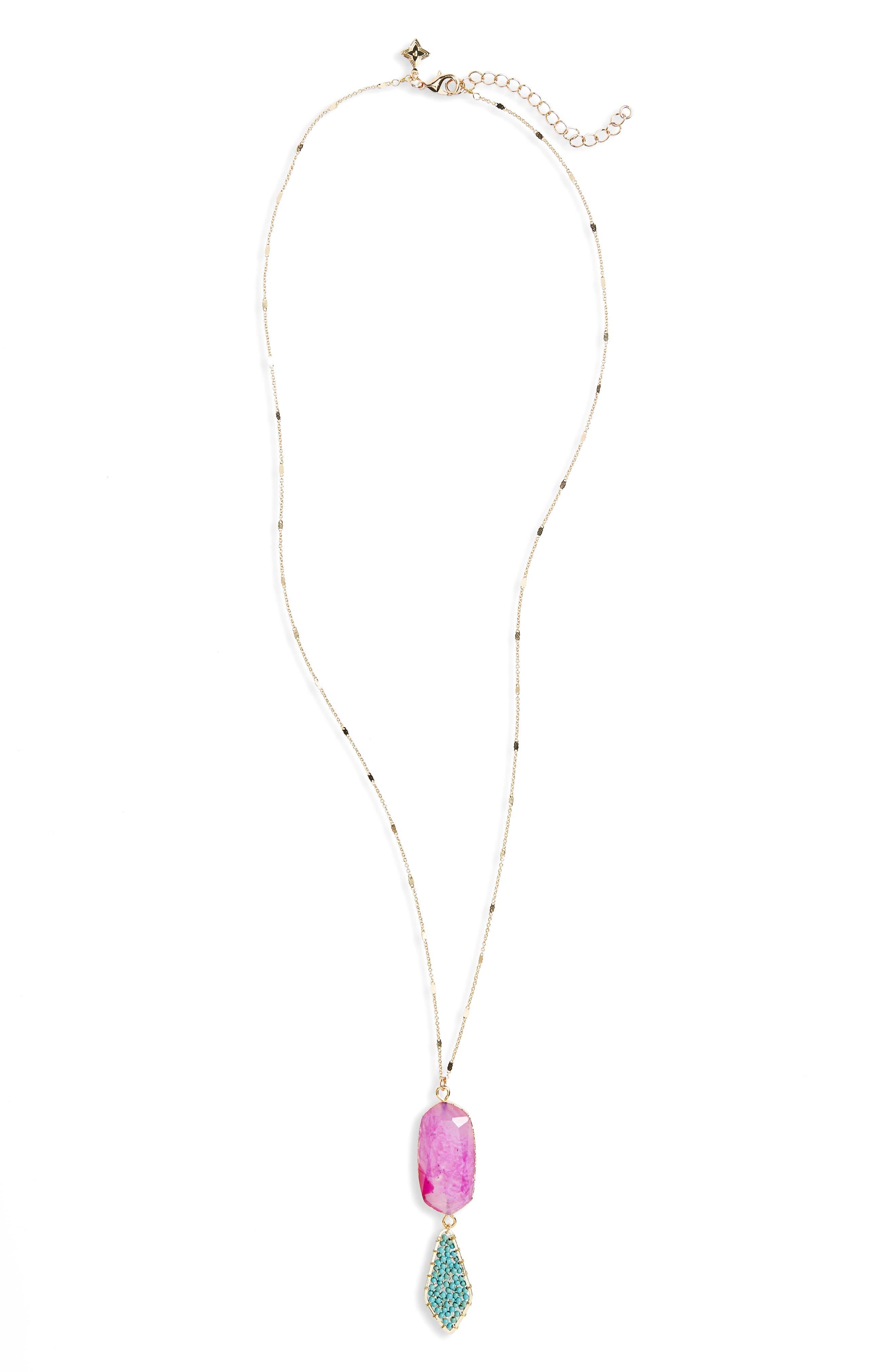 Howlite Stone Pendant Necklace,                         Main,                         color, Multi