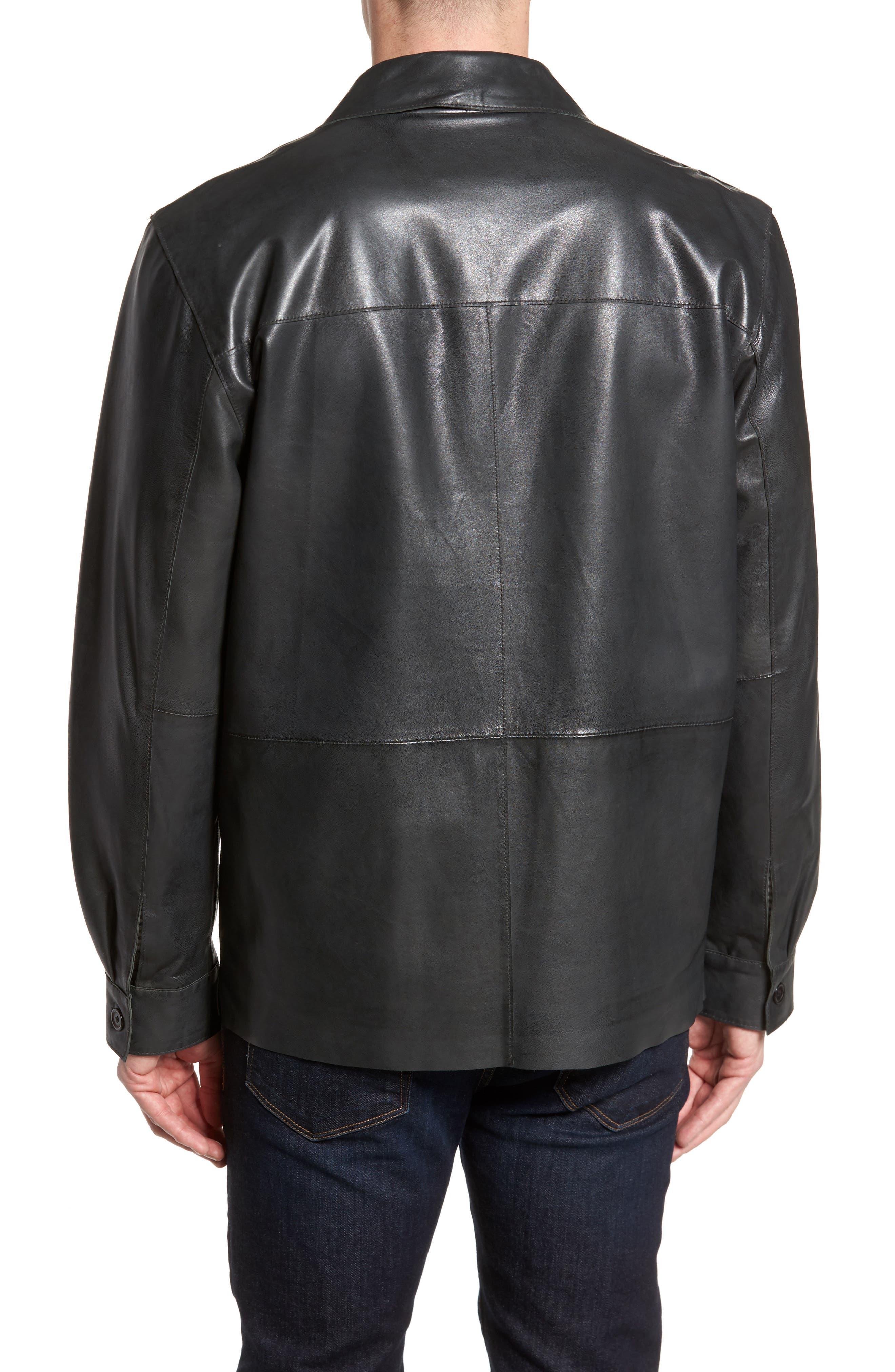 Vintage Leather Sport Coat,                             Alternate thumbnail 2, color,                             Black