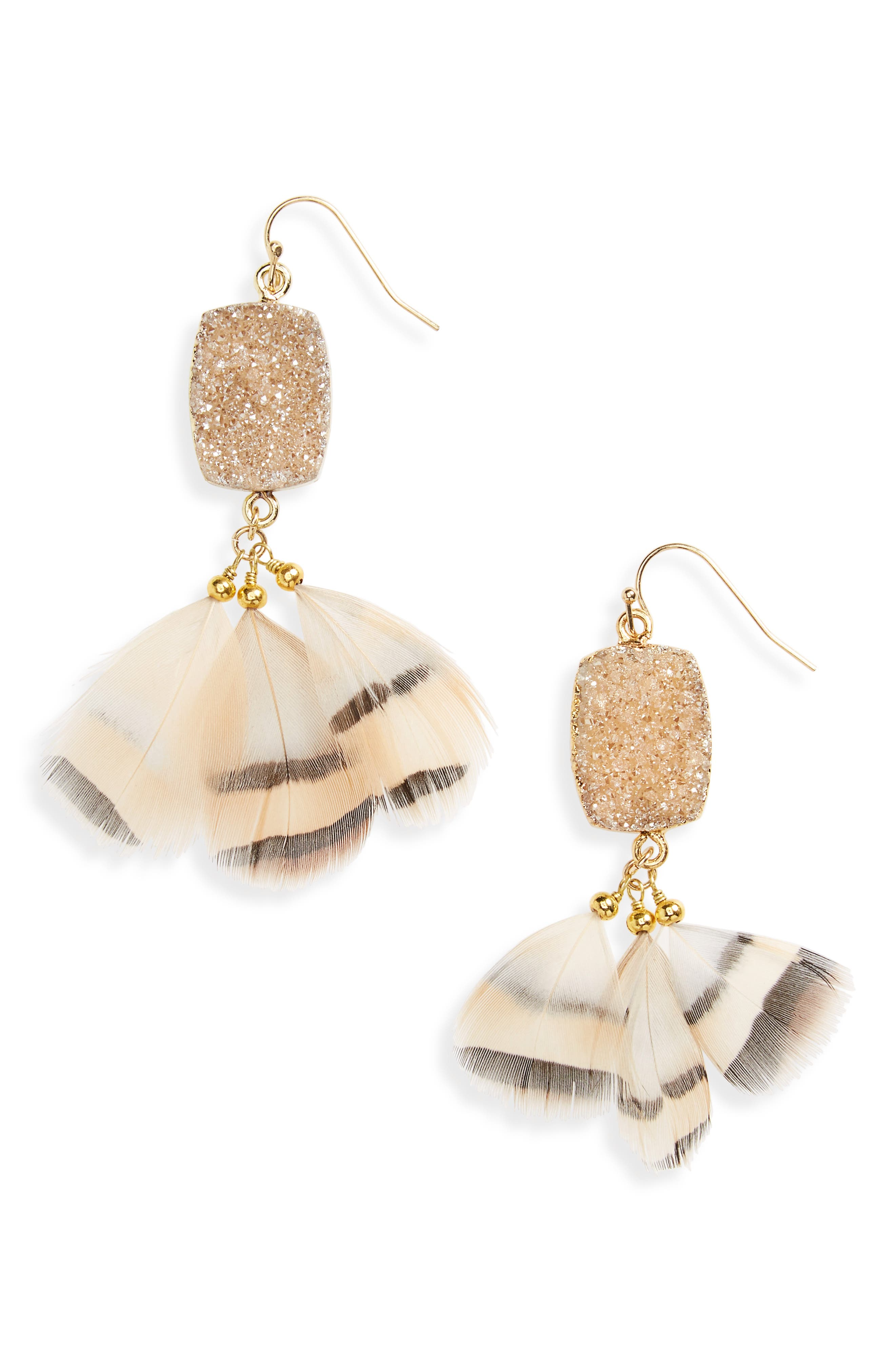 Drusy Feather Earrings,                         Main,                         color, Peach
