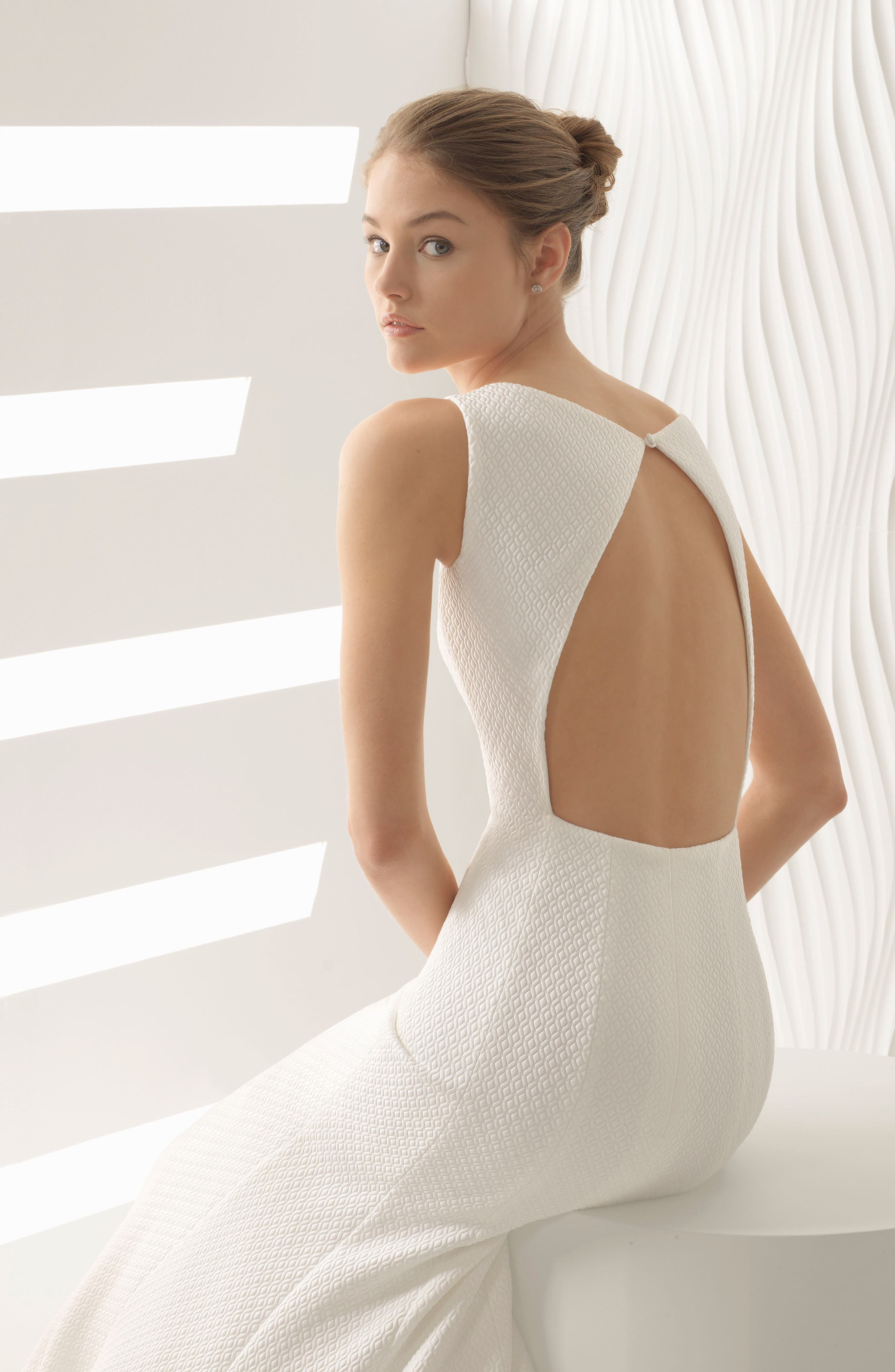 Astral Cloqué Mermaid Gown,                             Alternate thumbnail 3, color,                             Ivory