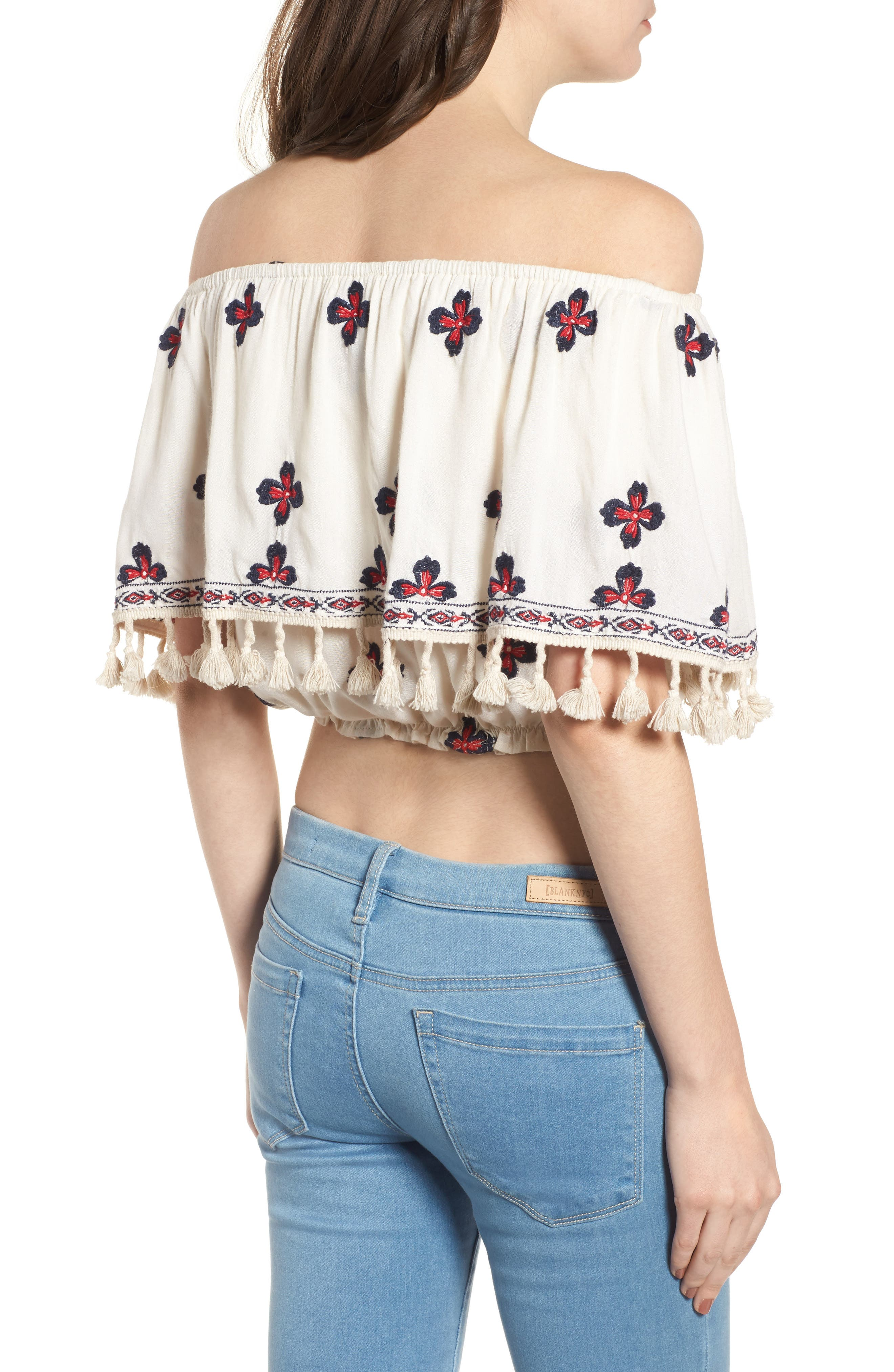 Tessi Embroidered Off the Shoulder Crop Top,                             Alternate thumbnail 2, color,                             Sugar Cookie