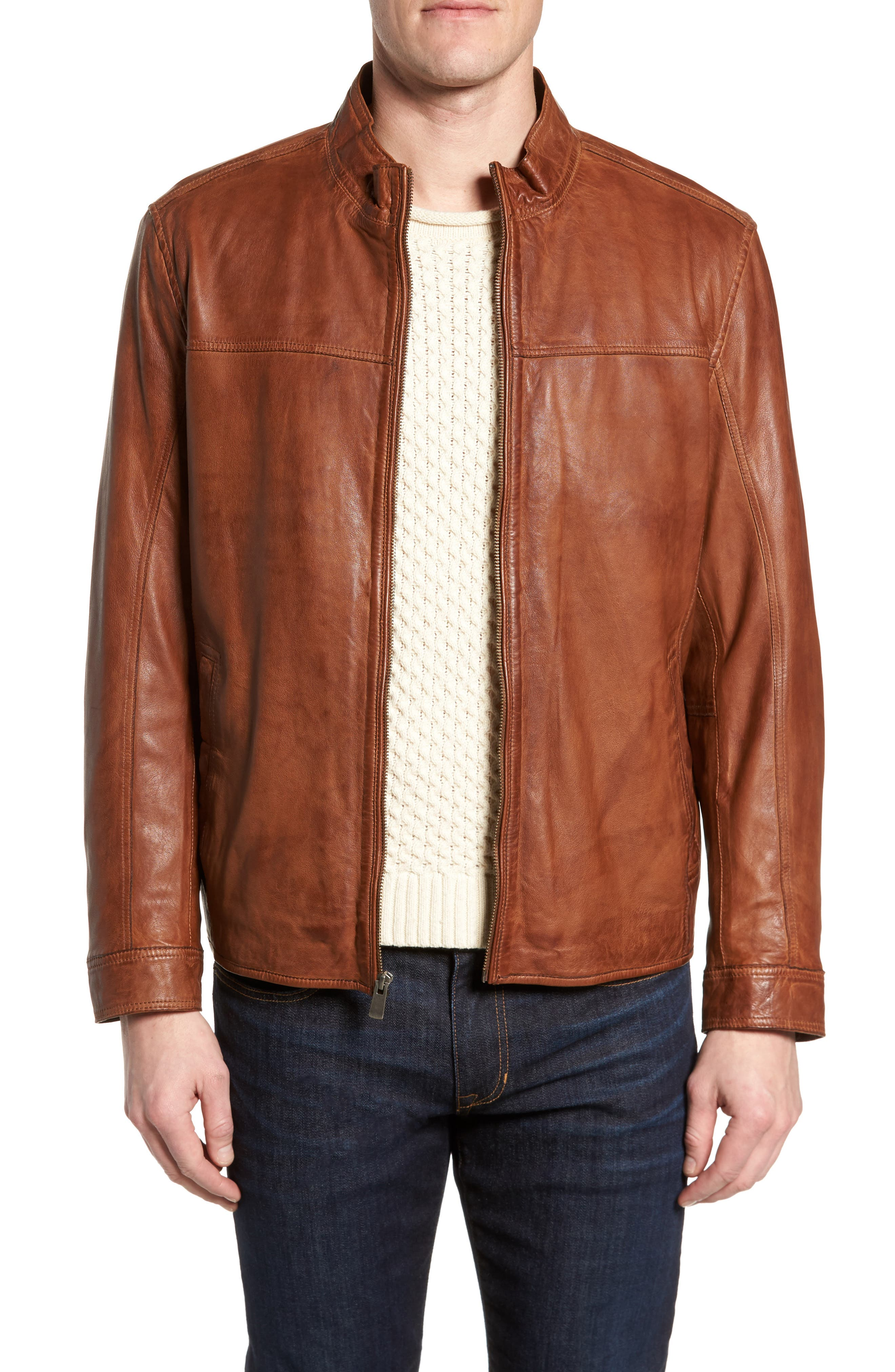 Zip Leather Jacket,                             Main thumbnail 1, color,                             Cognac