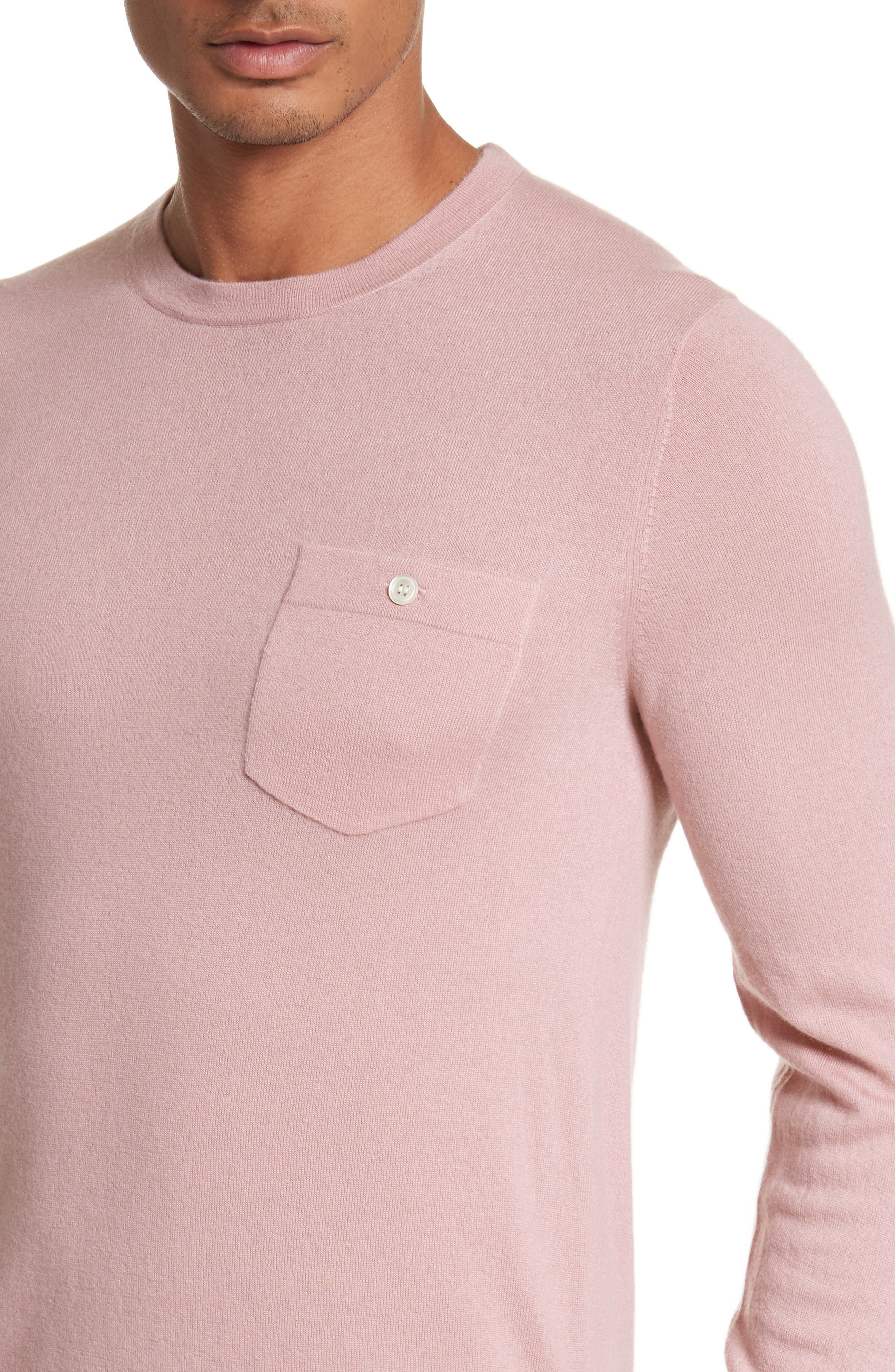 Cashmere Long Sleeve T-Shirt,                             Alternate thumbnail 4, color,                             Pink