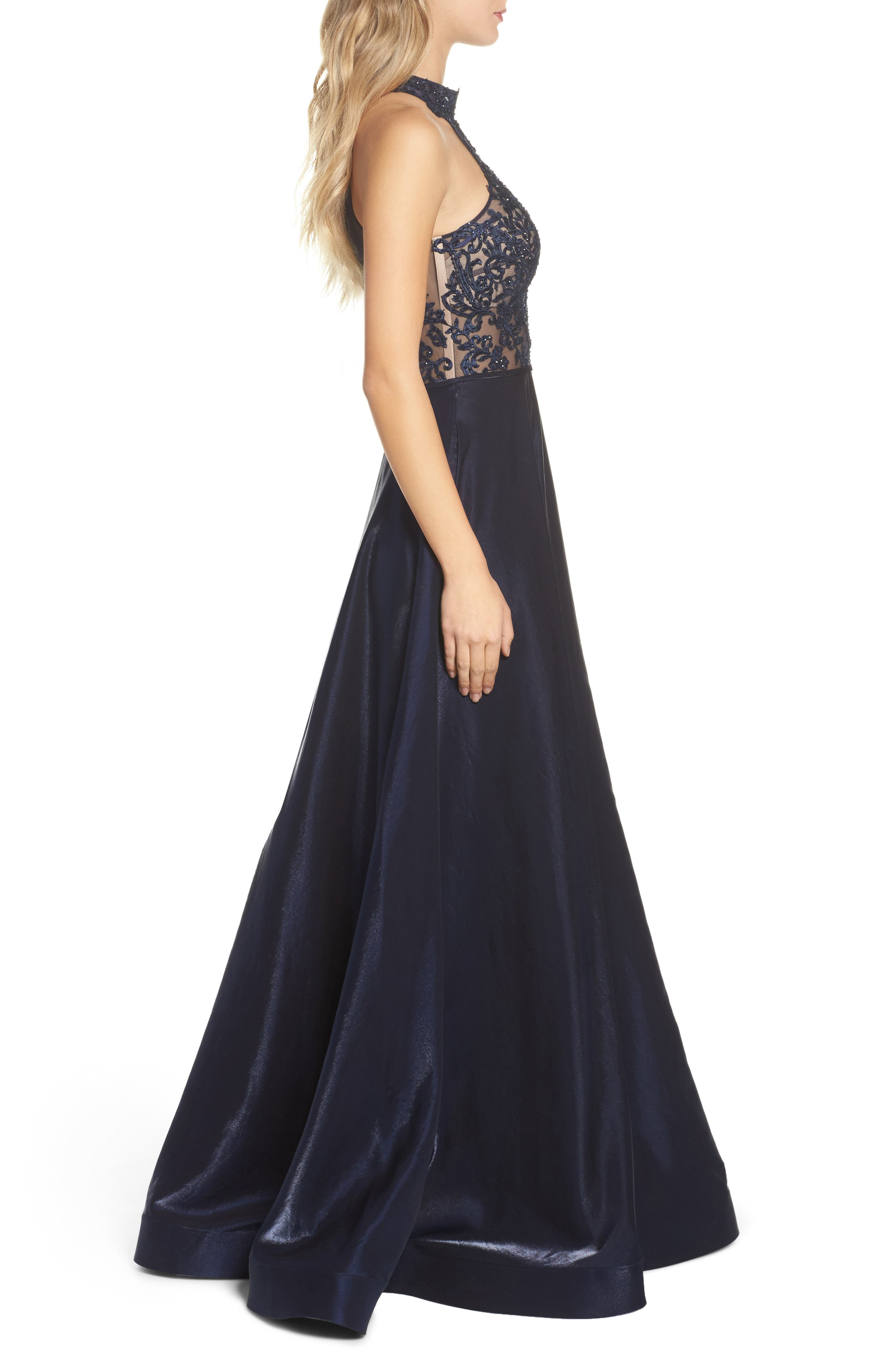 Embroidered Lace & Satin A-Line Ballgown,                             Alternate thumbnail 3, color,                             Navy
