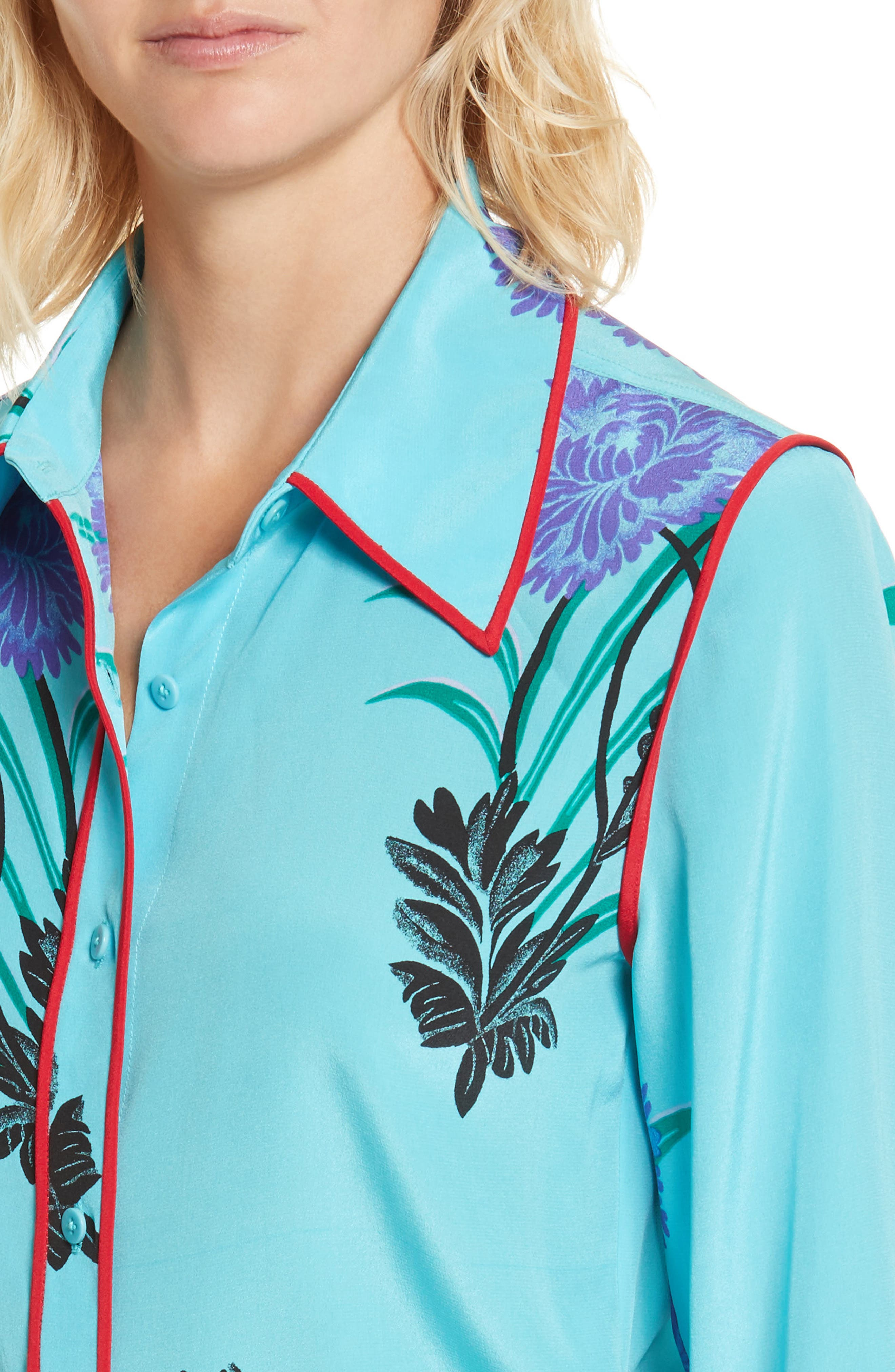 Floral Print Stretch Silk Shirt,                             Alternate thumbnail 4, color,                             Farren Marine