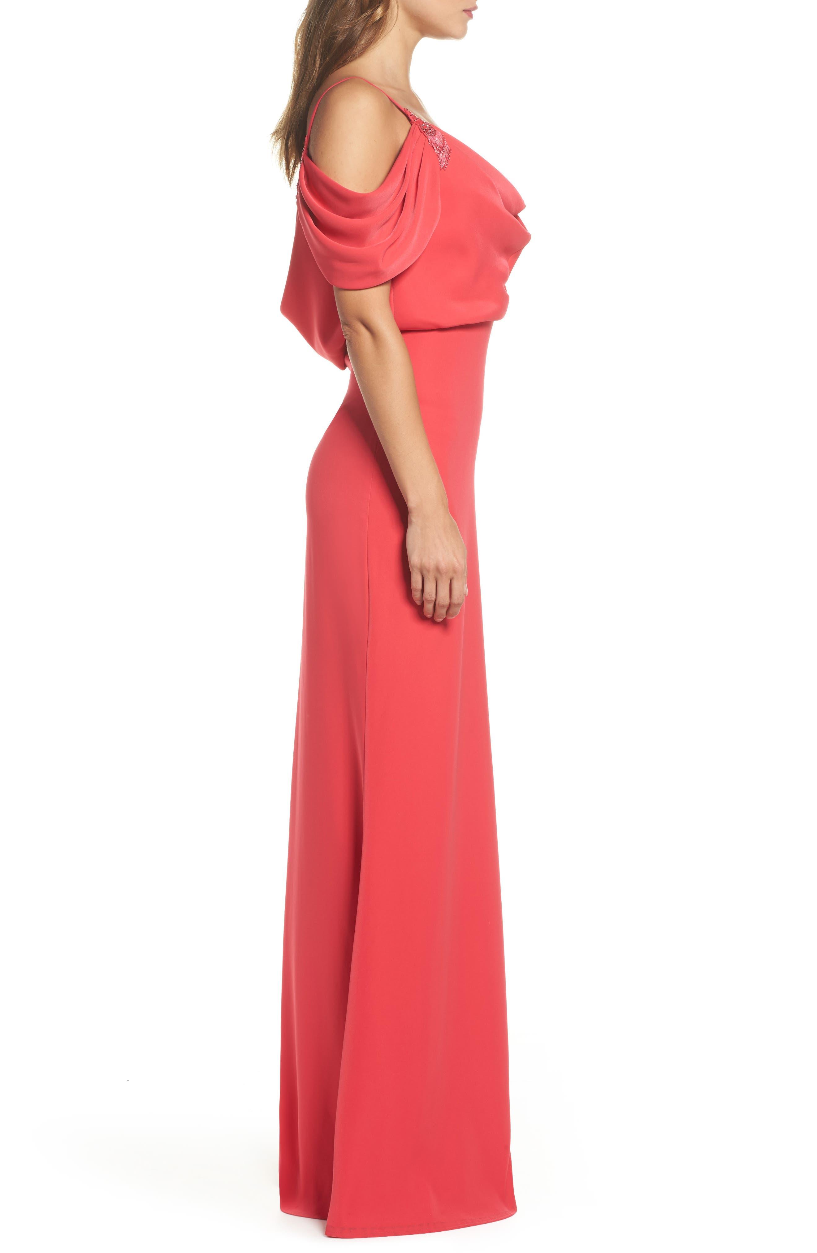 Embellished Cold Shoulder Crepe Gown,                             Alternate thumbnail 3, color,                             Pop Red