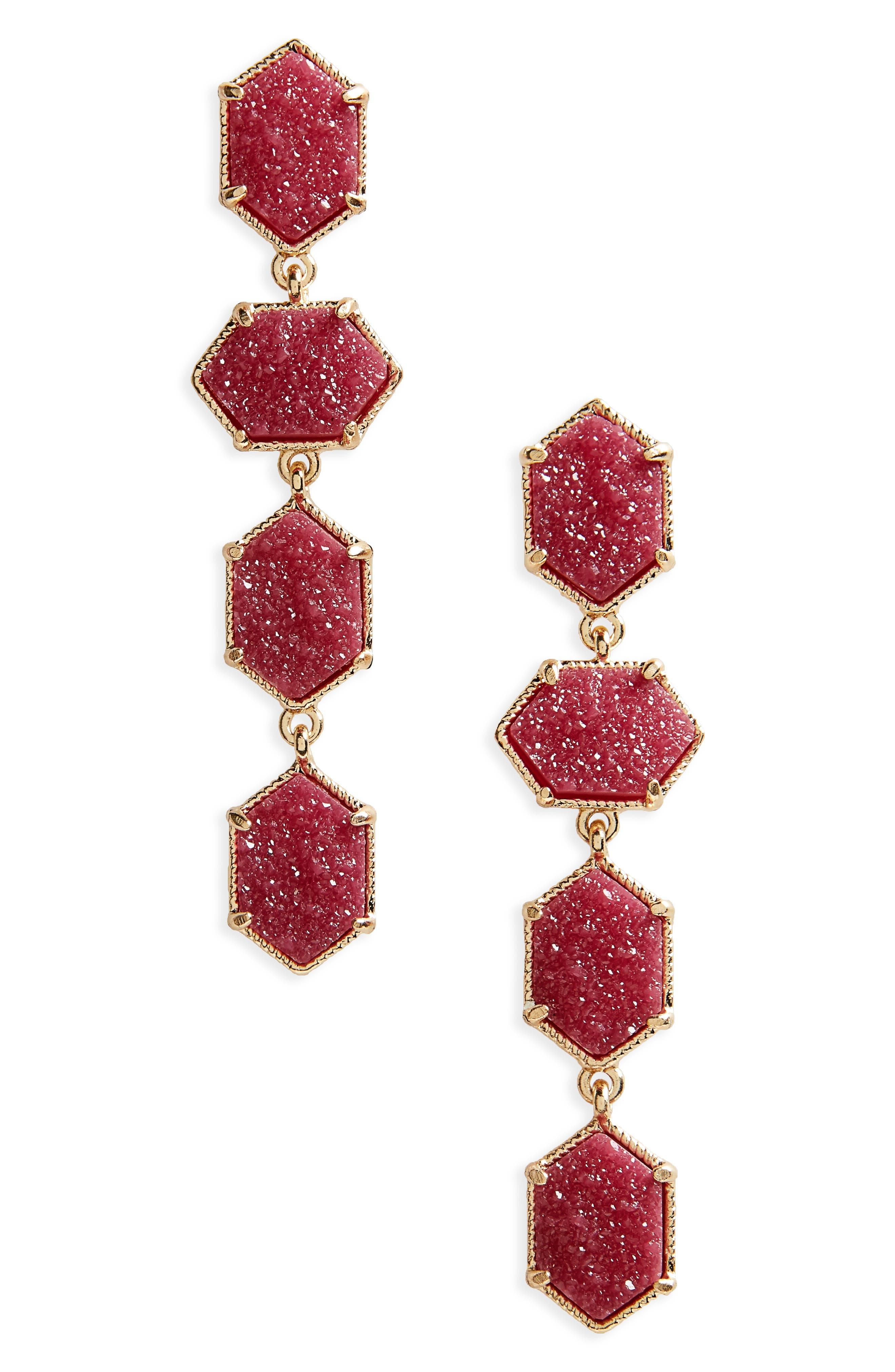 Faux Drusy Stone Drop Earrings,                         Main,                         color, Fushia
