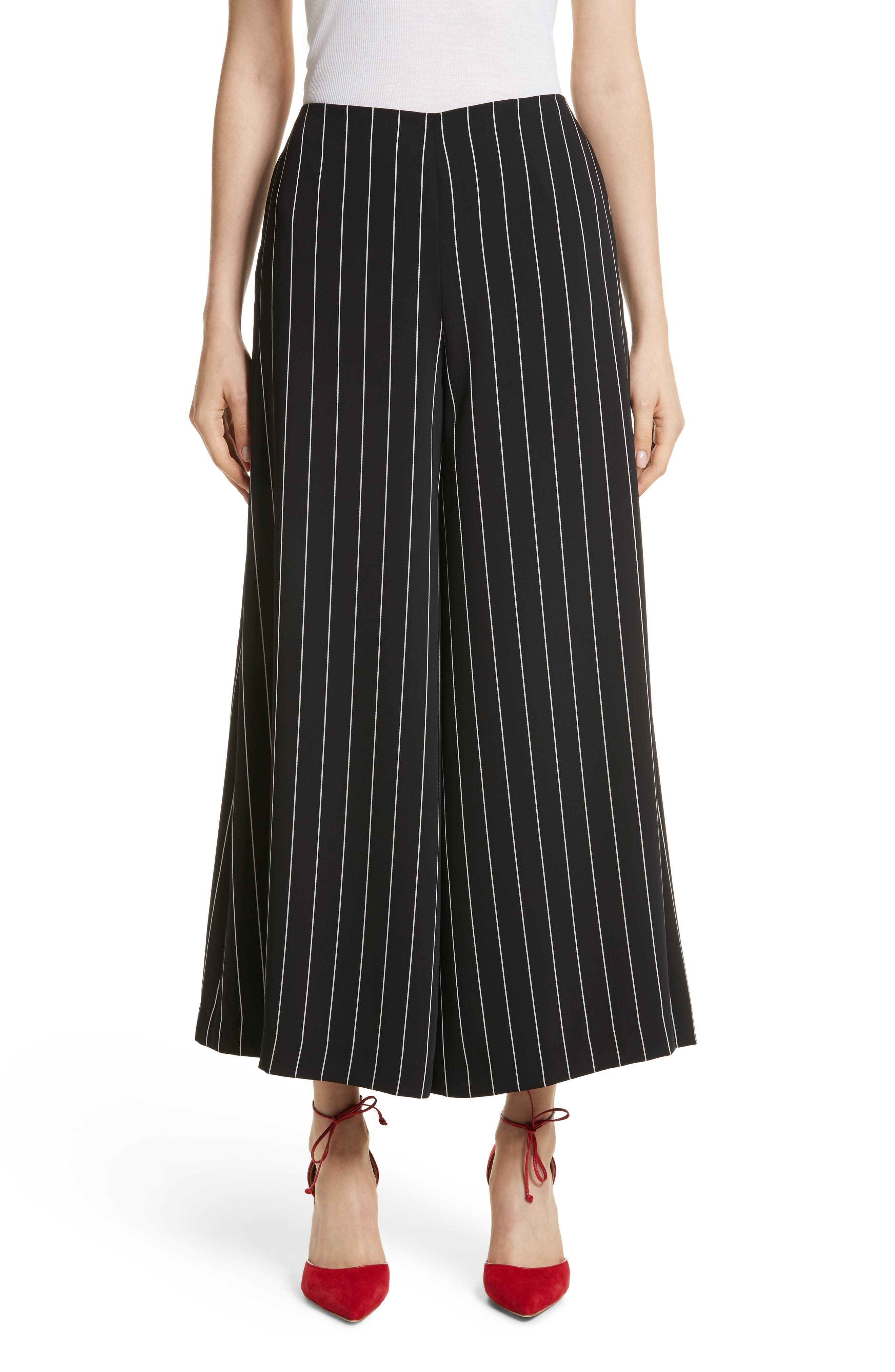 Wide Leg Stripe Trousers,                         Main,                         color, Jet