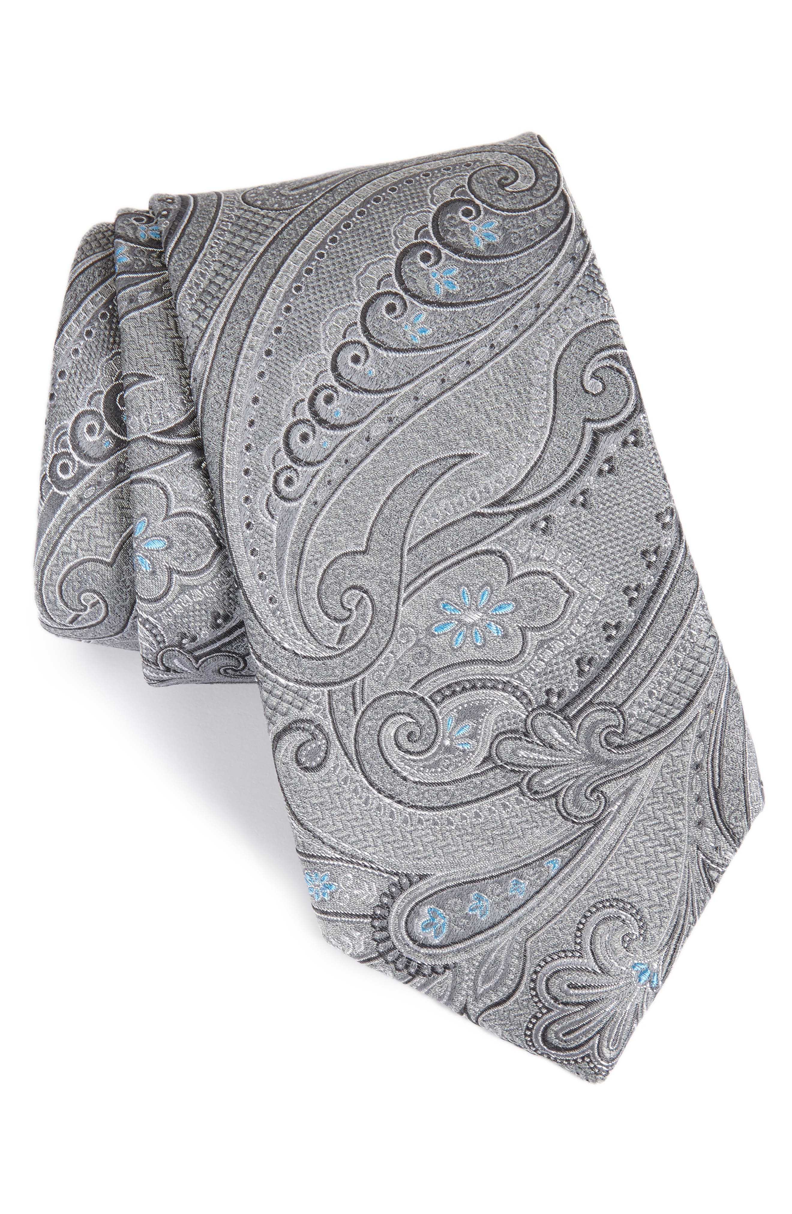 Bushnell Paisley Silk Blend Tie,                             Main thumbnail 1, color,                             Charcoal
