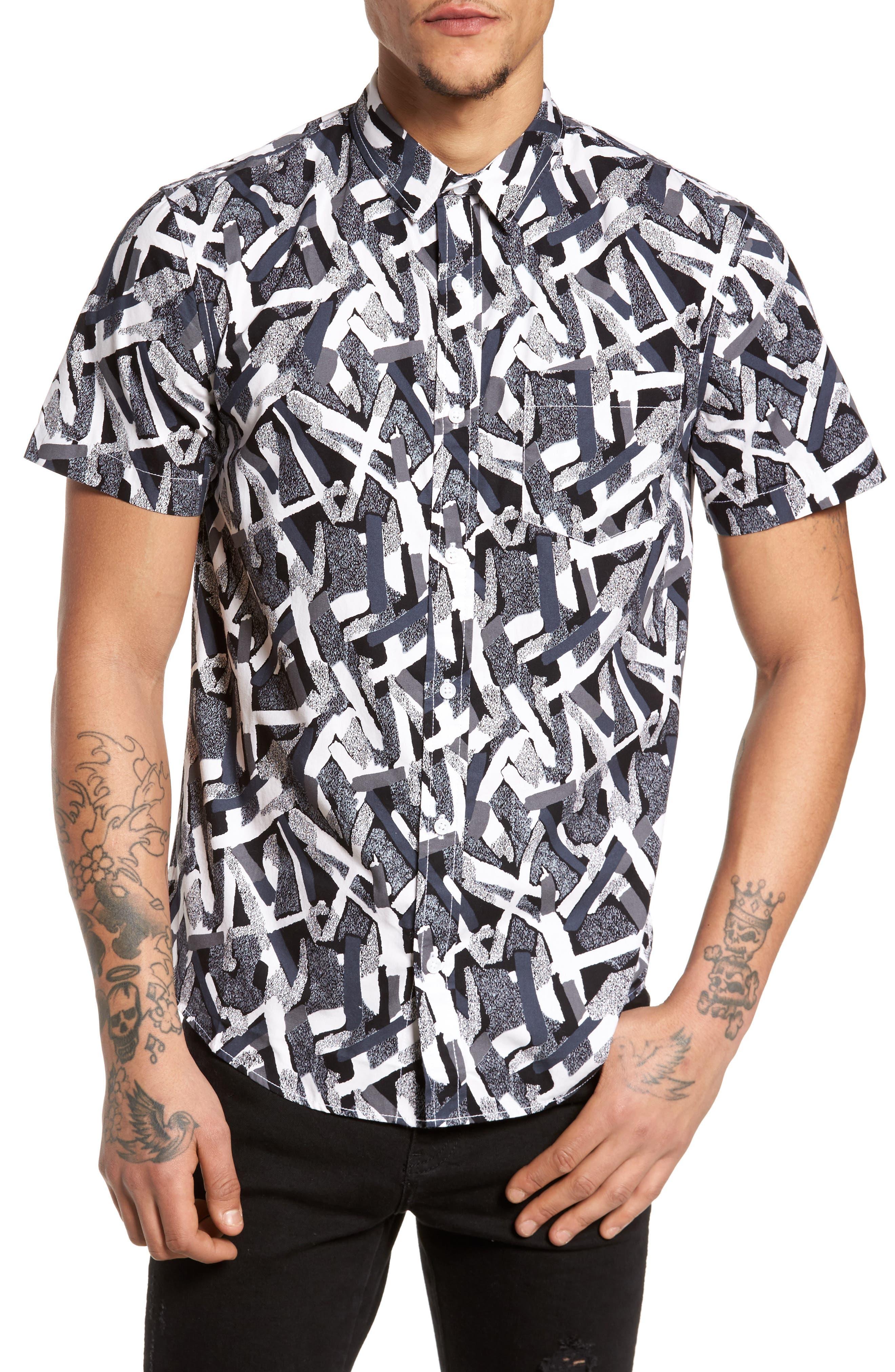 Short Sleeve Print Poplin Shirt,                         Main,                         color, Grey Geo Cross Hatch