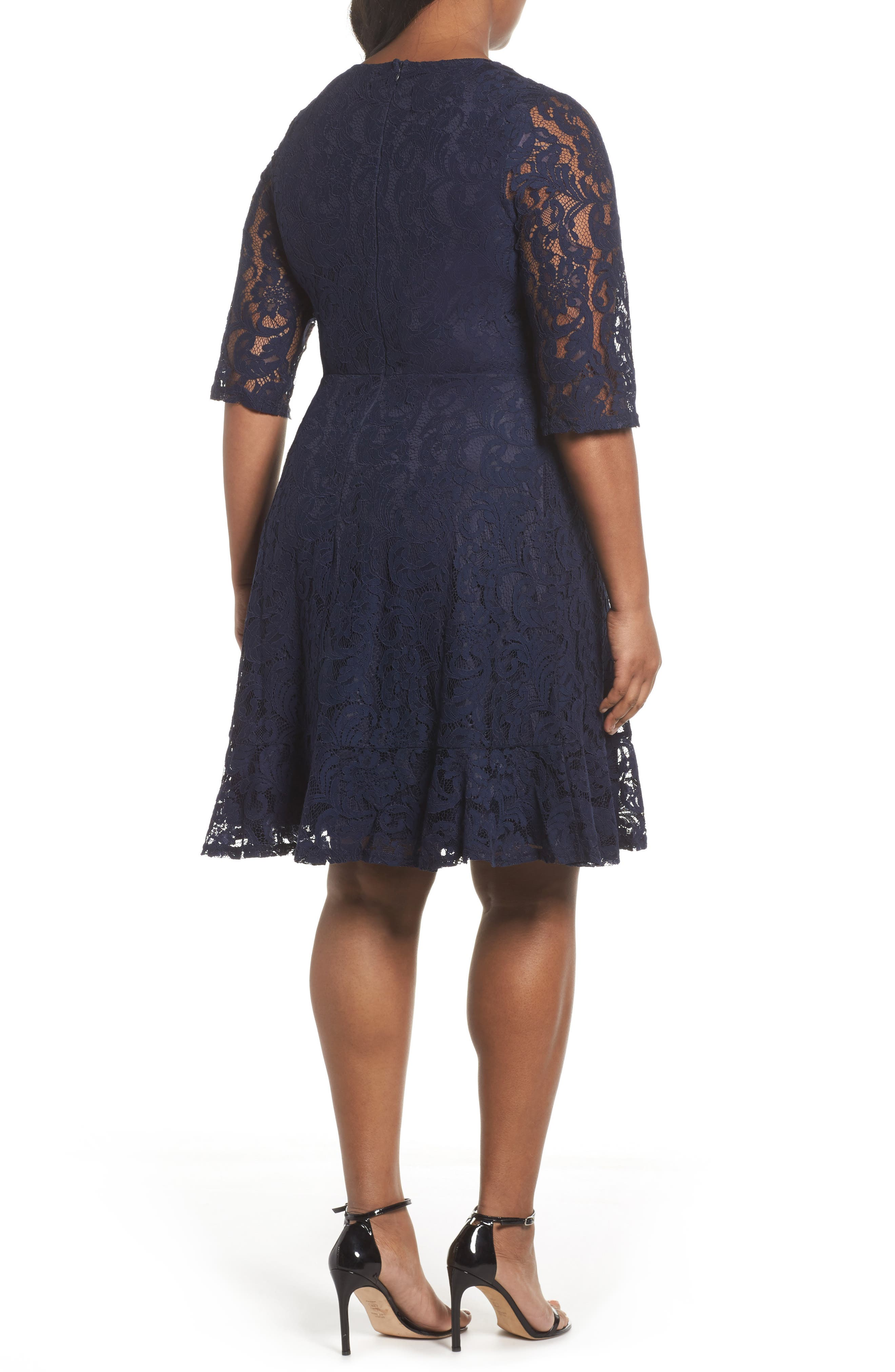 Fit & Flare Lace Dress,                             Alternate thumbnail 2, color,                             Navy