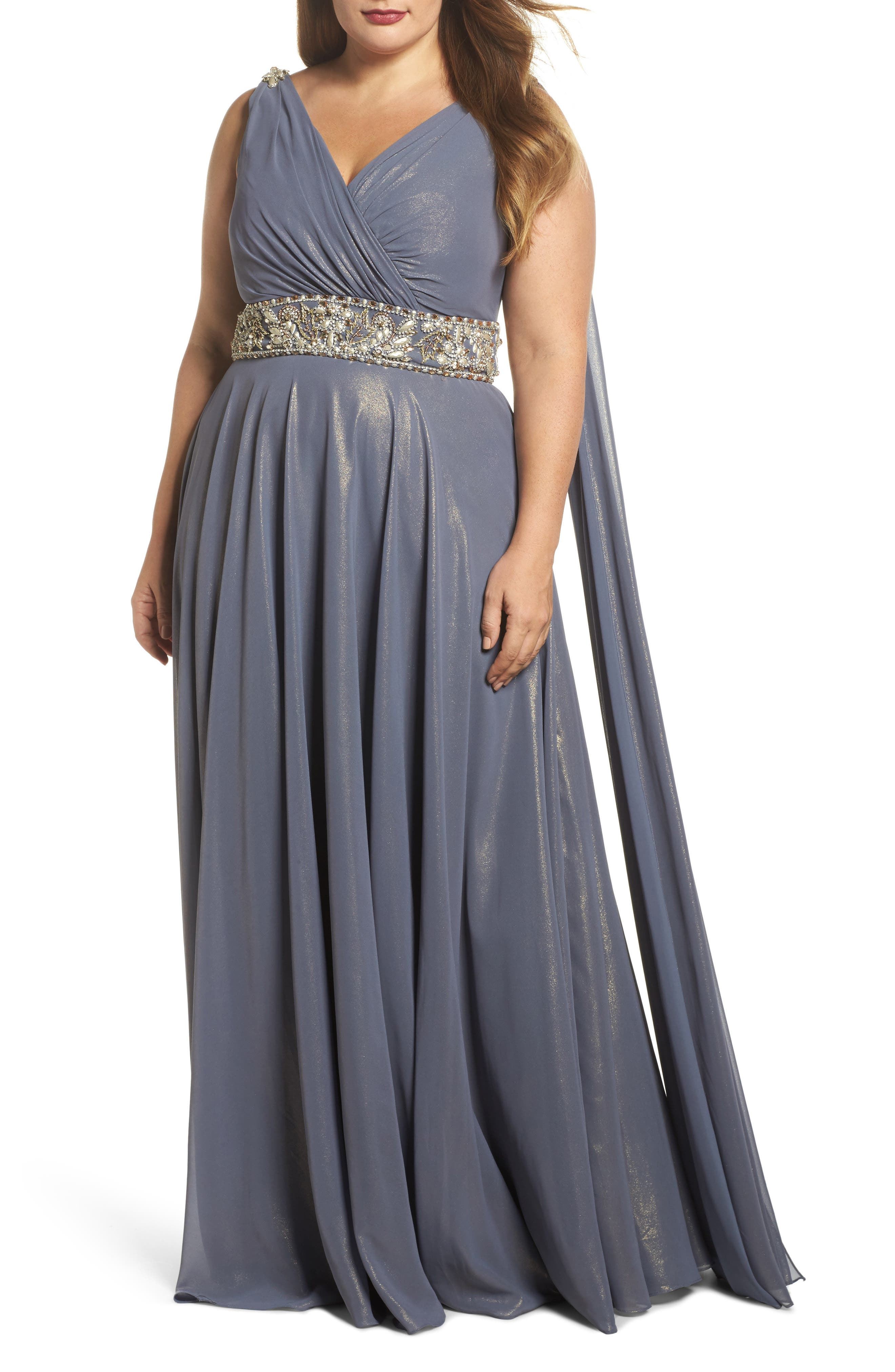 Embellished A-Line Gown,                         Main,                         color, Slate Gold