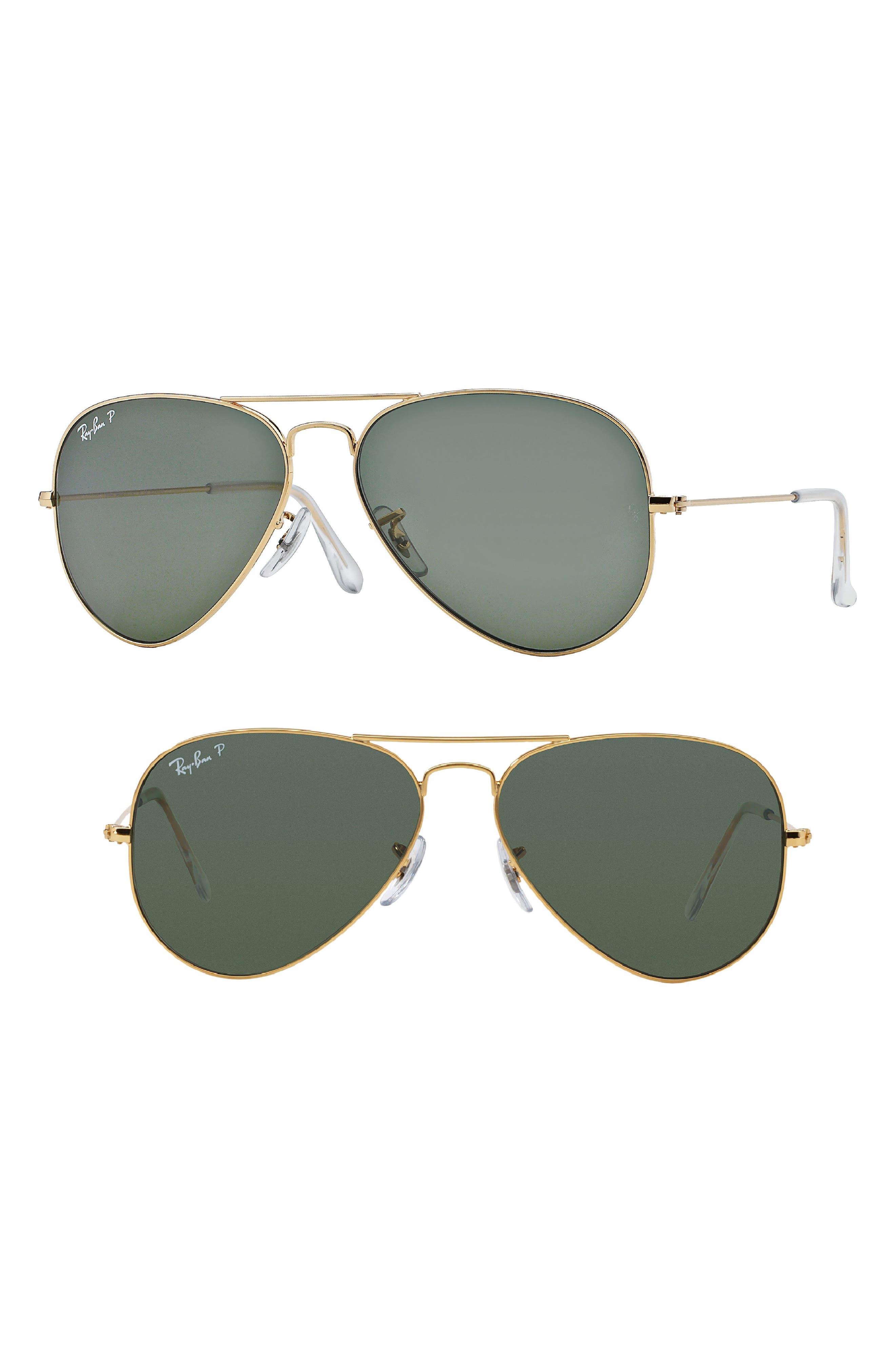 Original 62mm Oversize Polarized Aviator Sunglasses,                         Main,                         color, Gold