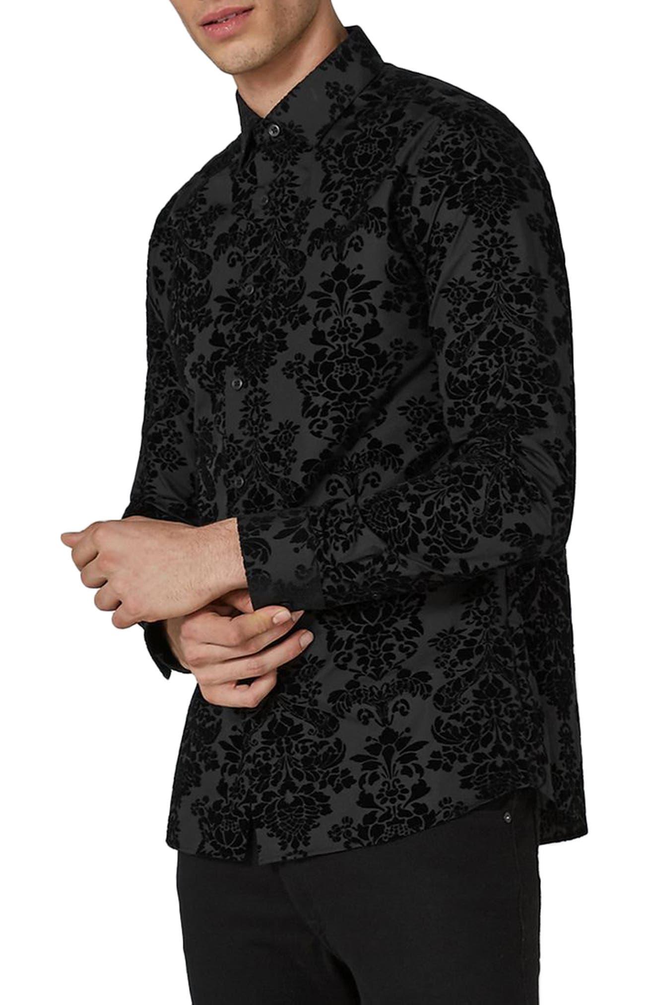 Slim Fit Flocked Shirt,                             Main thumbnail 1, color,                             Black