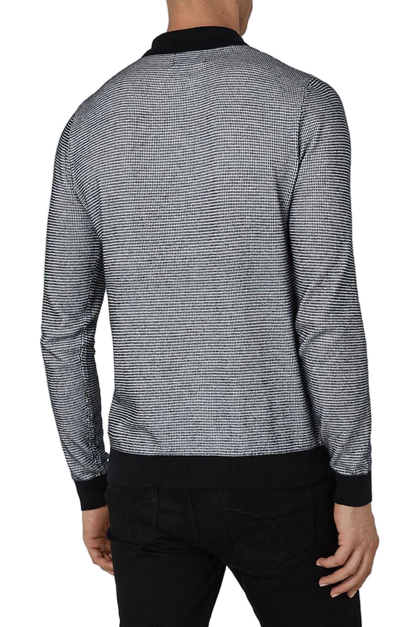 Long Sleeve Texture Polo,                             Alternate thumbnail 2, color,                             Black Multi